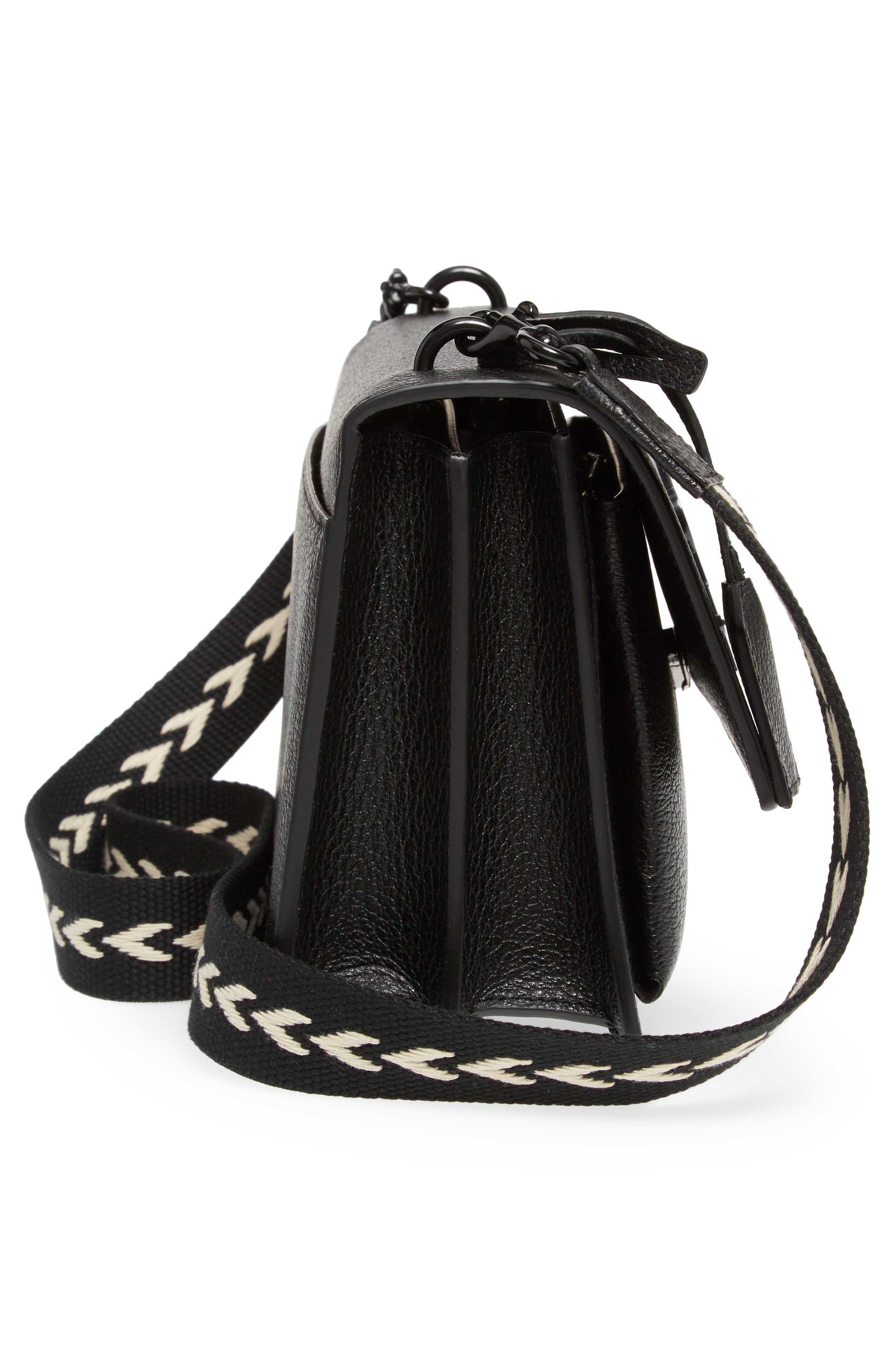 Medium Sunset Calfskin Shoulder Bag with Woven Guitar Strap,                             Alternate thumbnail 5, color,                             001