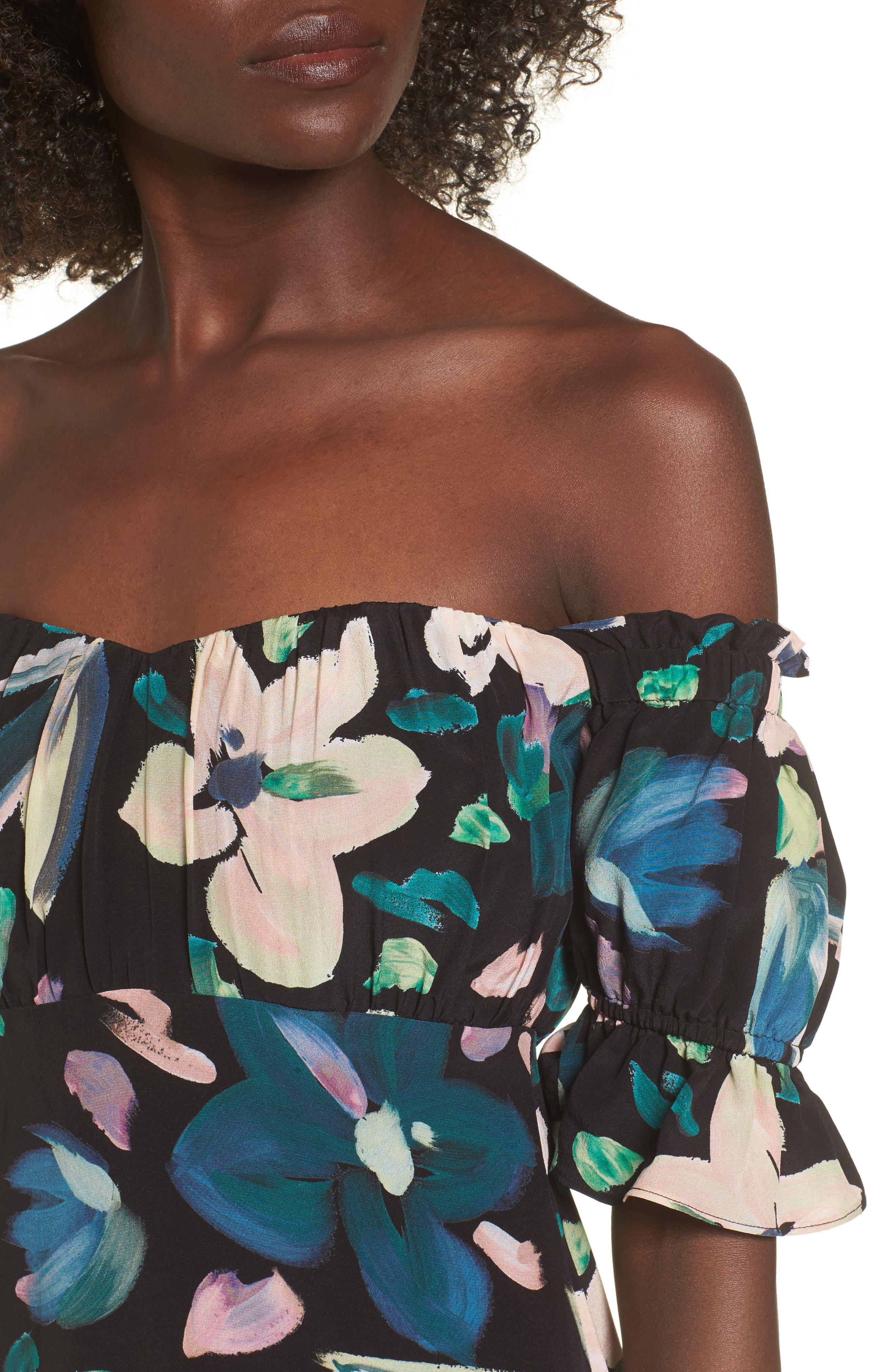 Flores Off the Shoulder Midi Dress,                             Alternate thumbnail 4, color,                             001