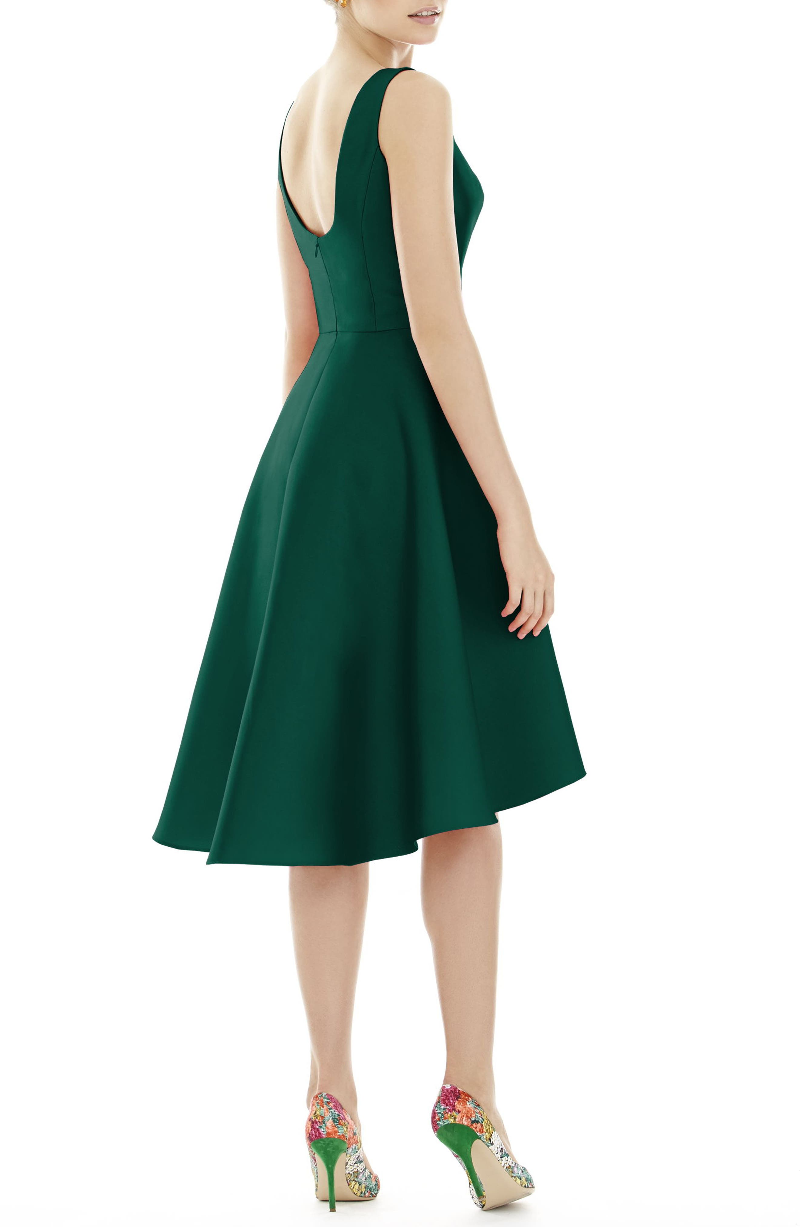 High/Low Cocktail Dress,                             Alternate thumbnail 2, color,                             HUNTER