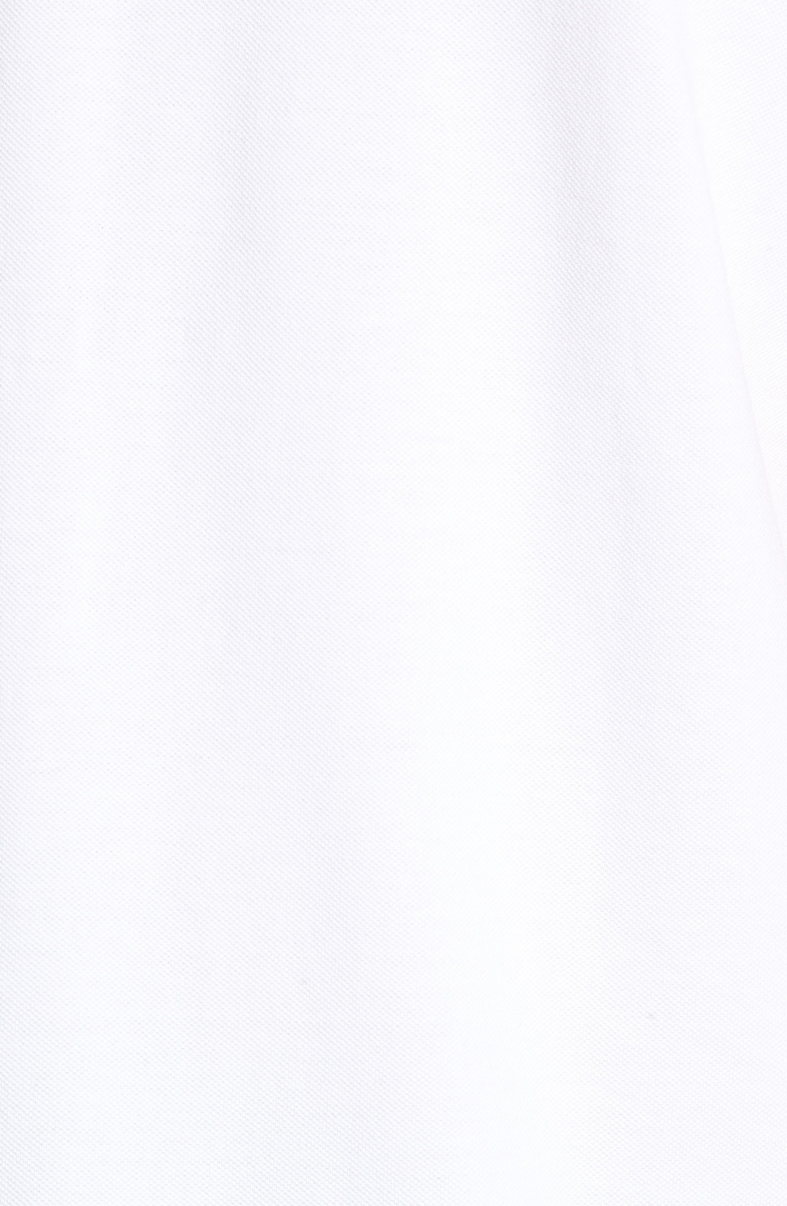 Knowledge Cotton Apparel Trim Fit Piqué Polo,                             Alternate thumbnail 5, color,                             WHITE