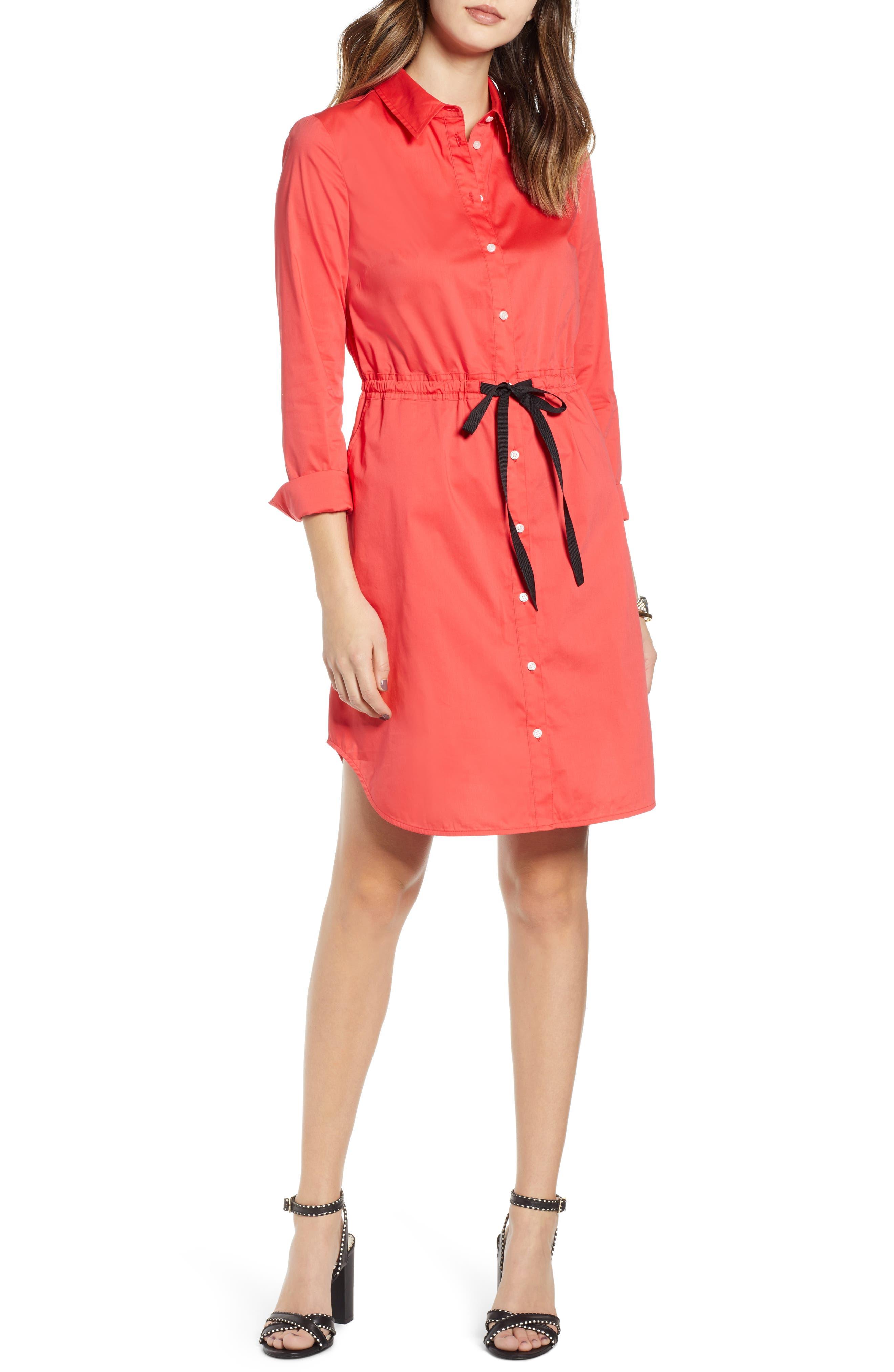 Petite 1901 Tie Waist Shirtdress, Red
