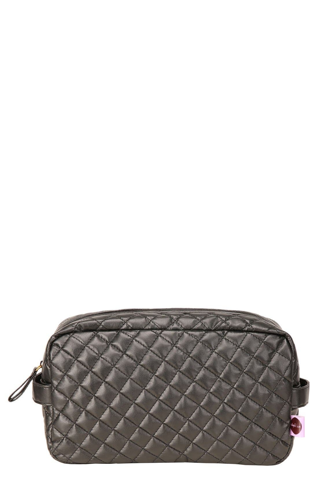 'Viveca' Quilted Black Cosmetics Case,                             Main thumbnail 1, color,                             000