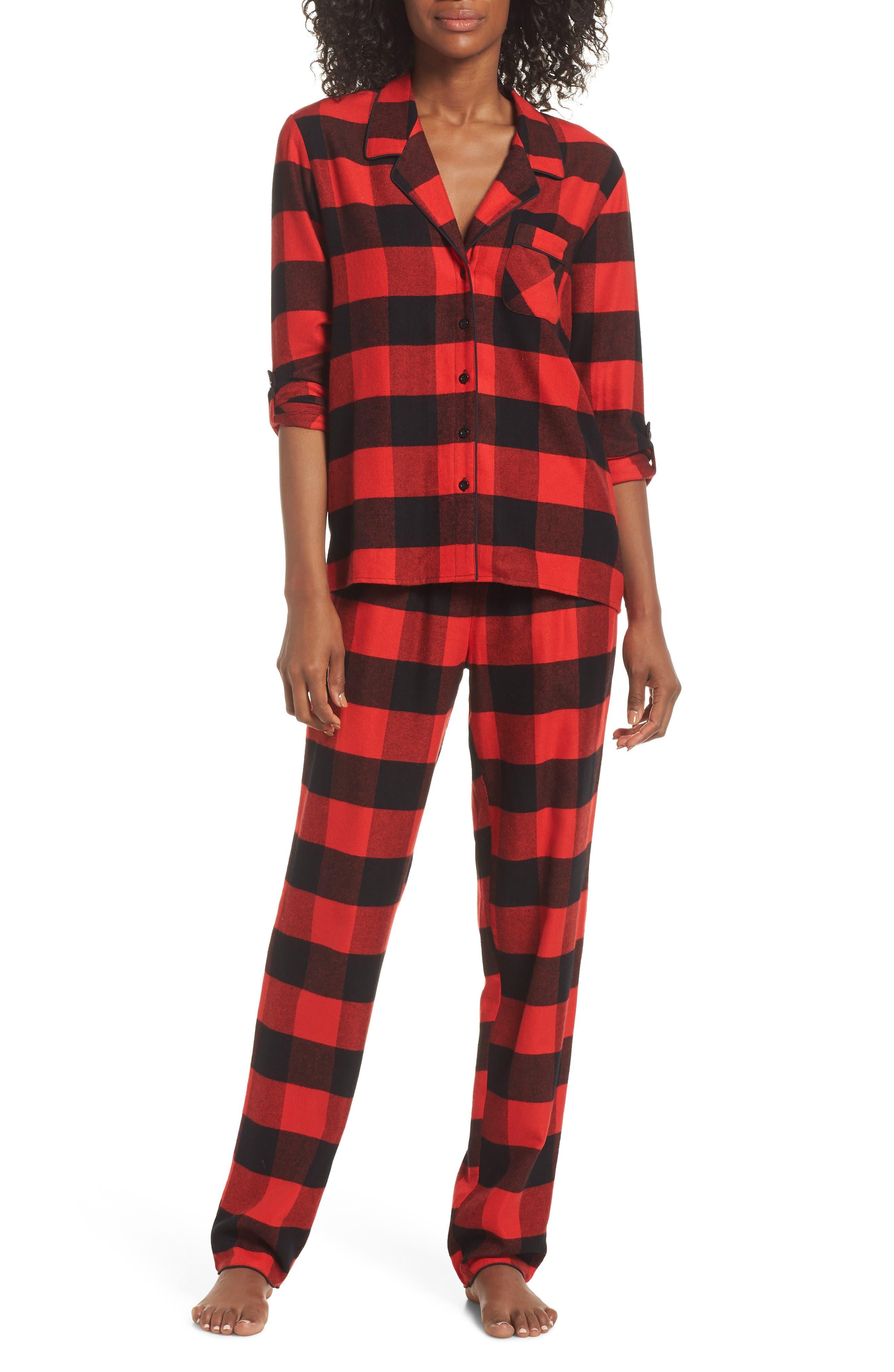 Nordstrom Lingerie Starlight Flannel Pajamas, Red