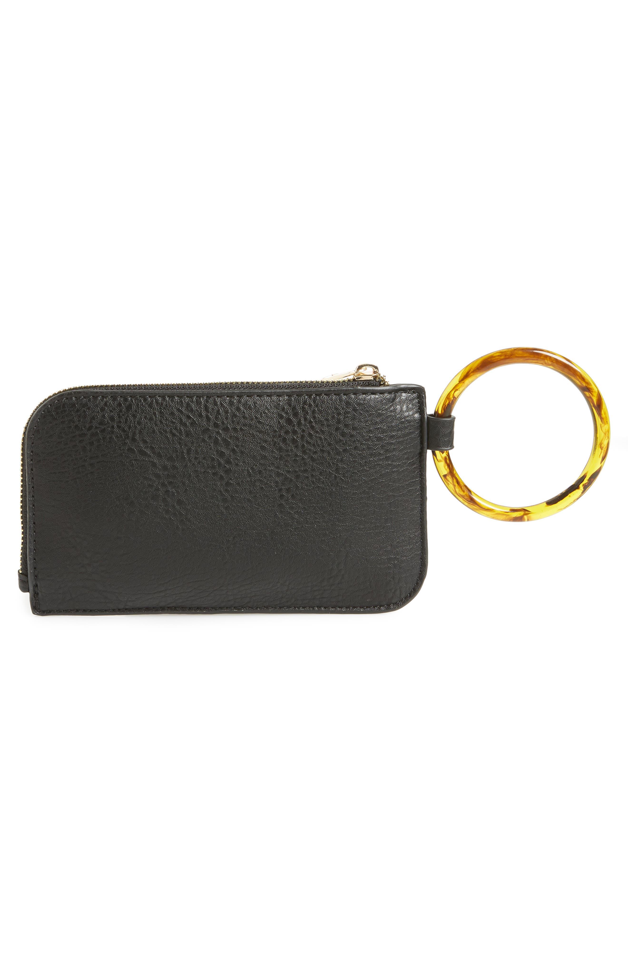 Resin Handle Mini Zip Clutch,                             Alternate thumbnail 3, color,                             BLACK