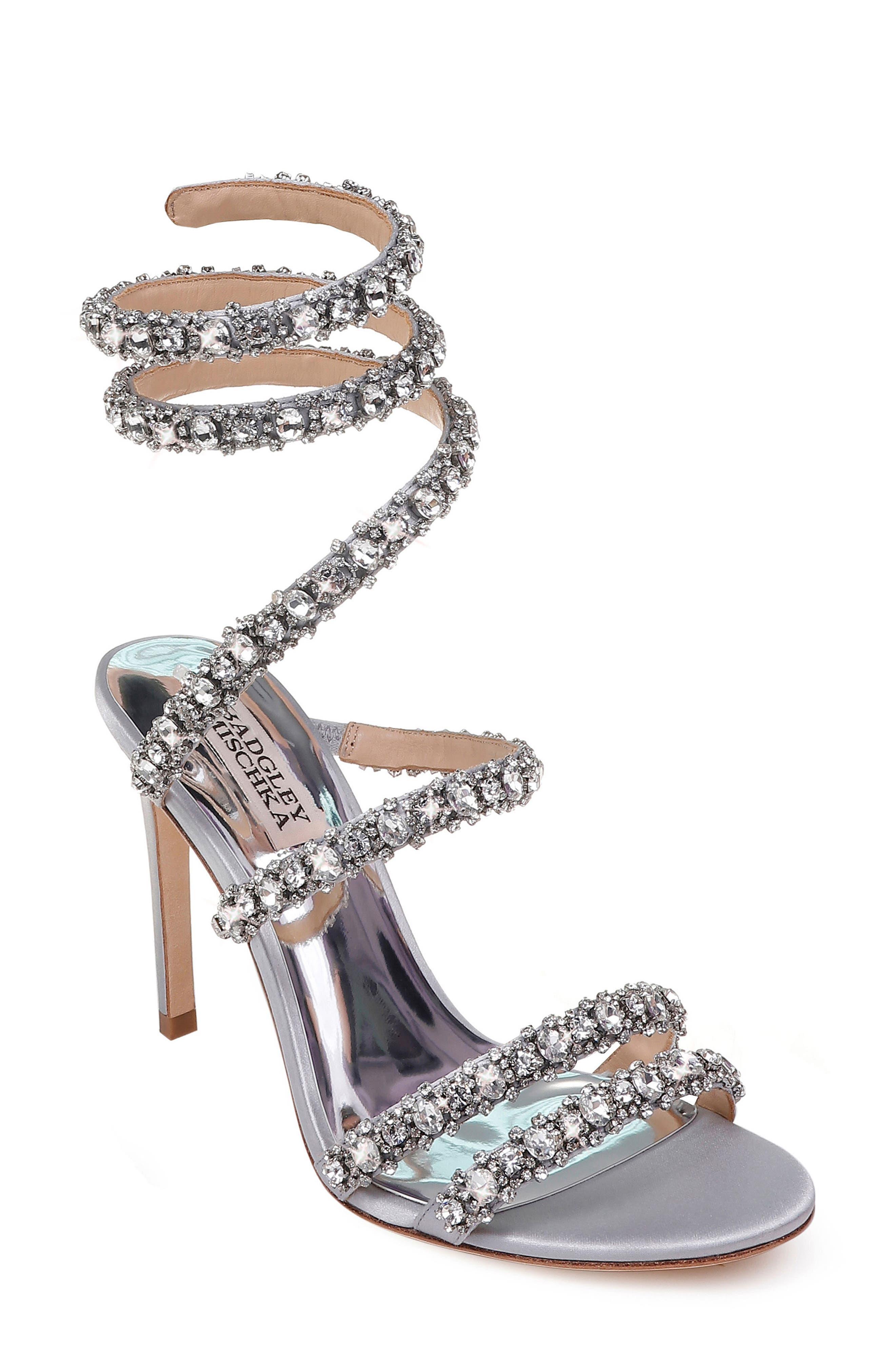 Peace Crystal Ankle Wrap Sandal,                         Main,                         color, SILVER SATIN