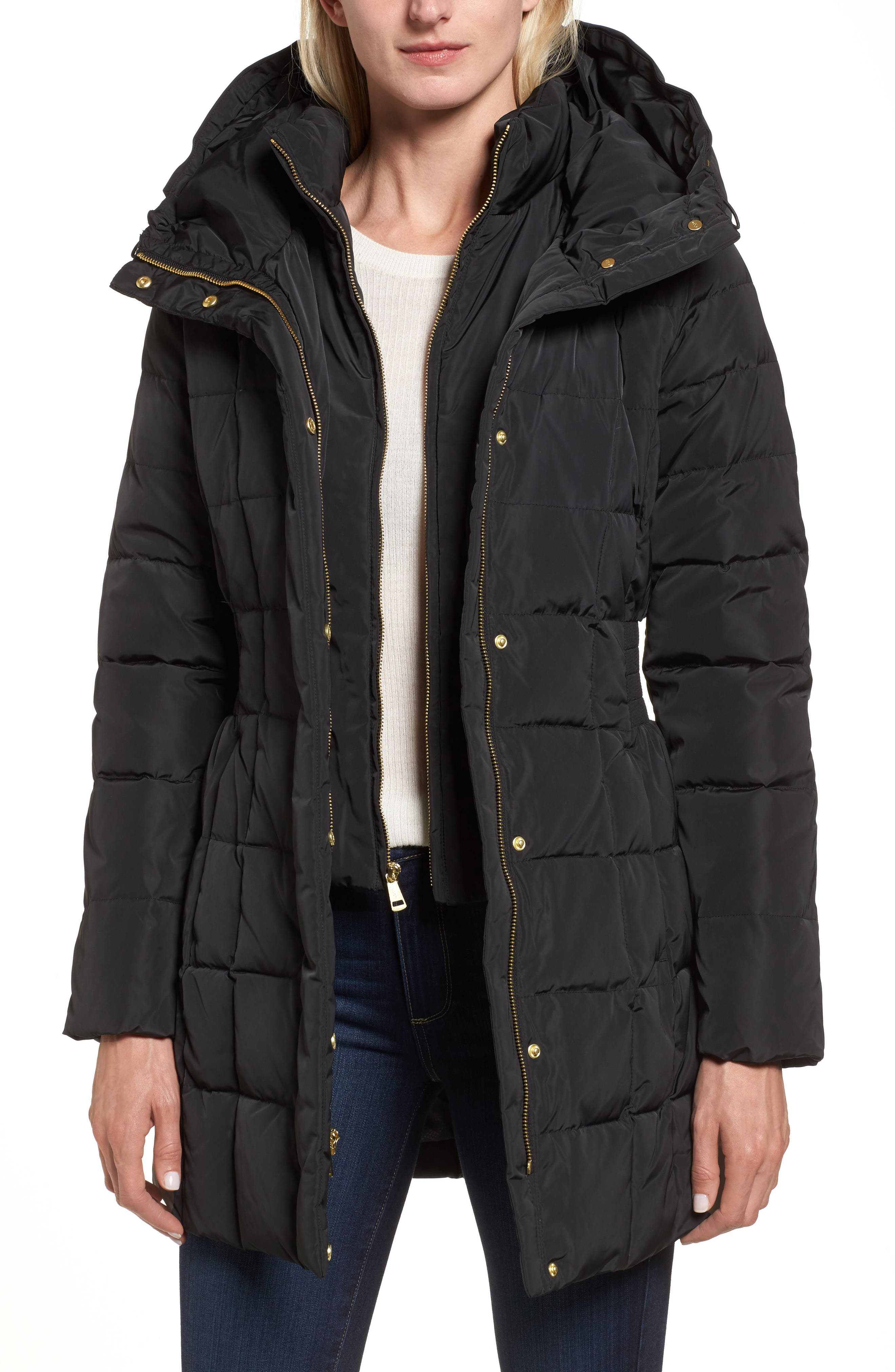 Cole Haan Hooded Down & Feather Jacket,                             Main thumbnail 1, color,                             BLACK