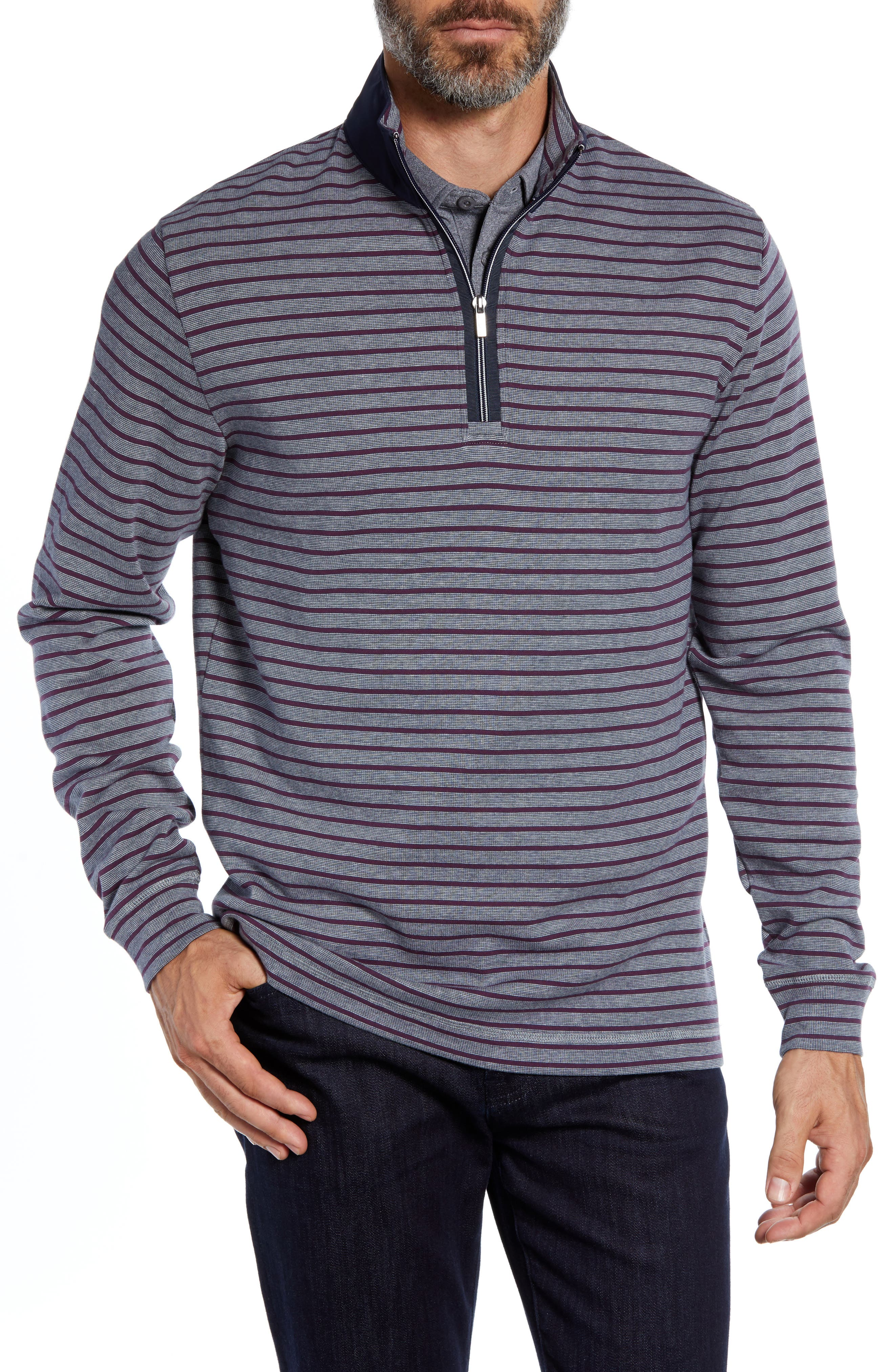 Mock Neck Half Zip Pullover,                             Main thumbnail 1, color,                             CEMENT