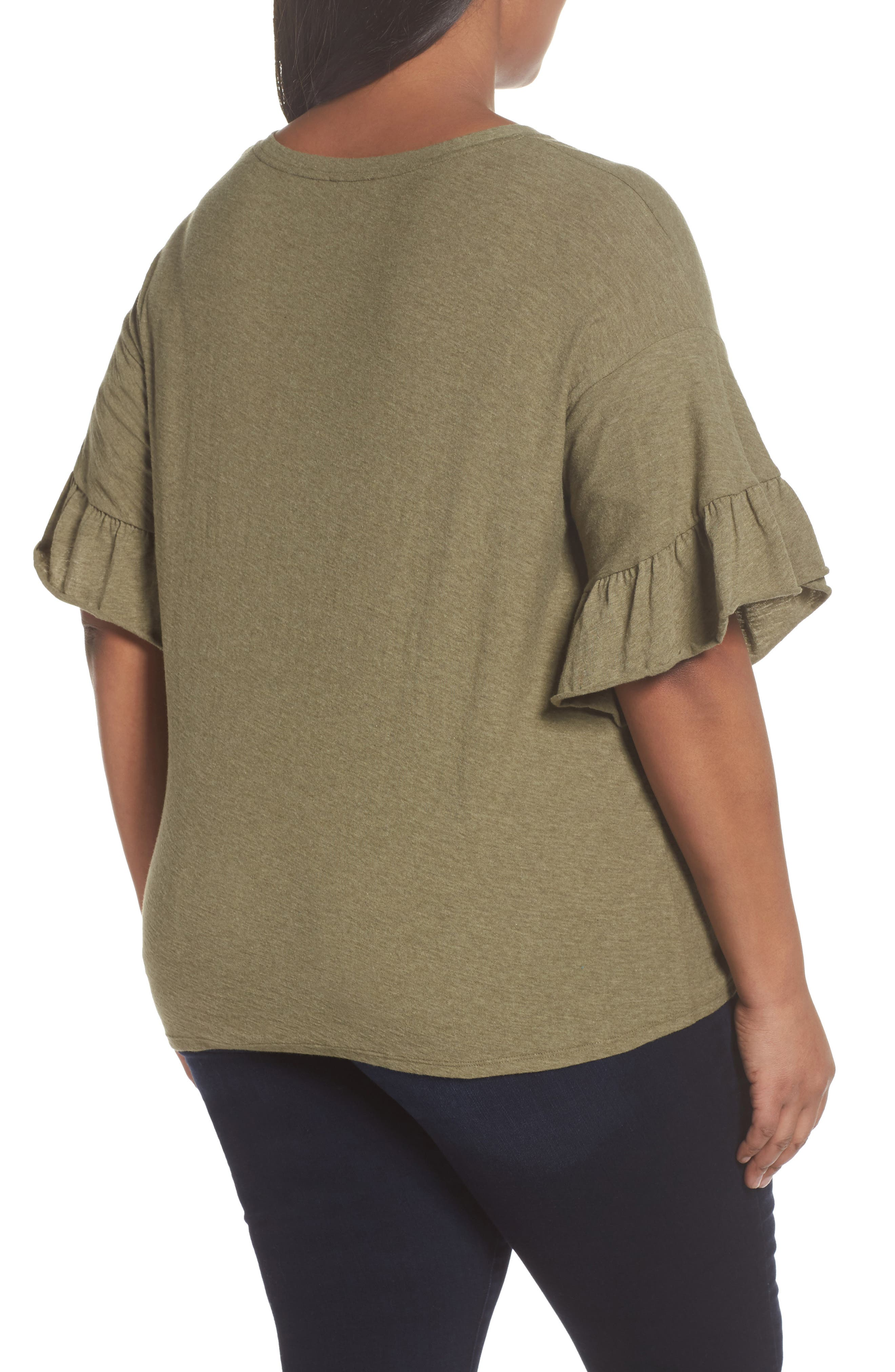 Drop Shoulder Tiered Ruffle Sleeve Top,                             Alternate thumbnail 3, color,