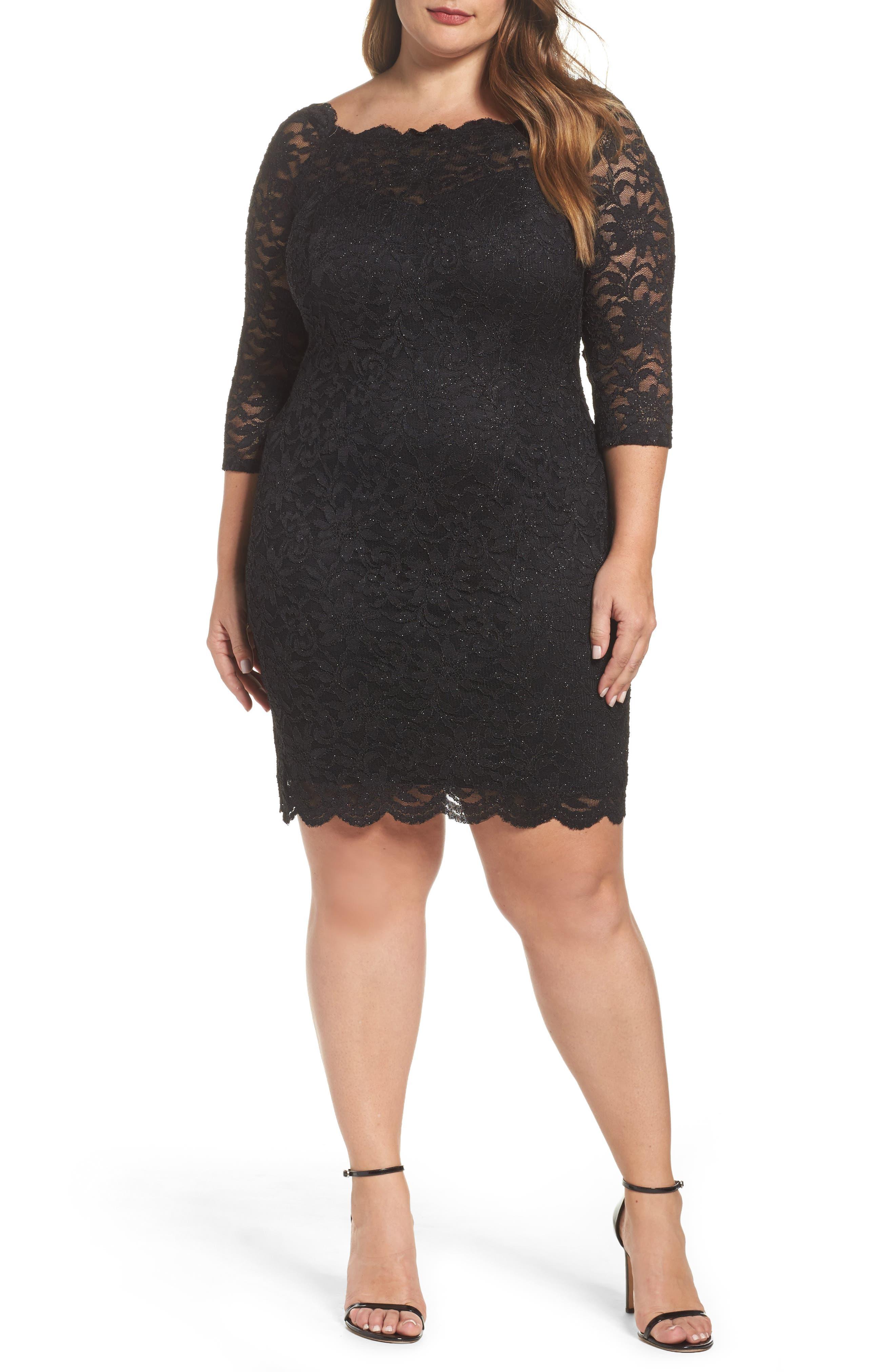 Glitter Lace Cocktail Dress,                             Main thumbnail 1, color,                             BLACK