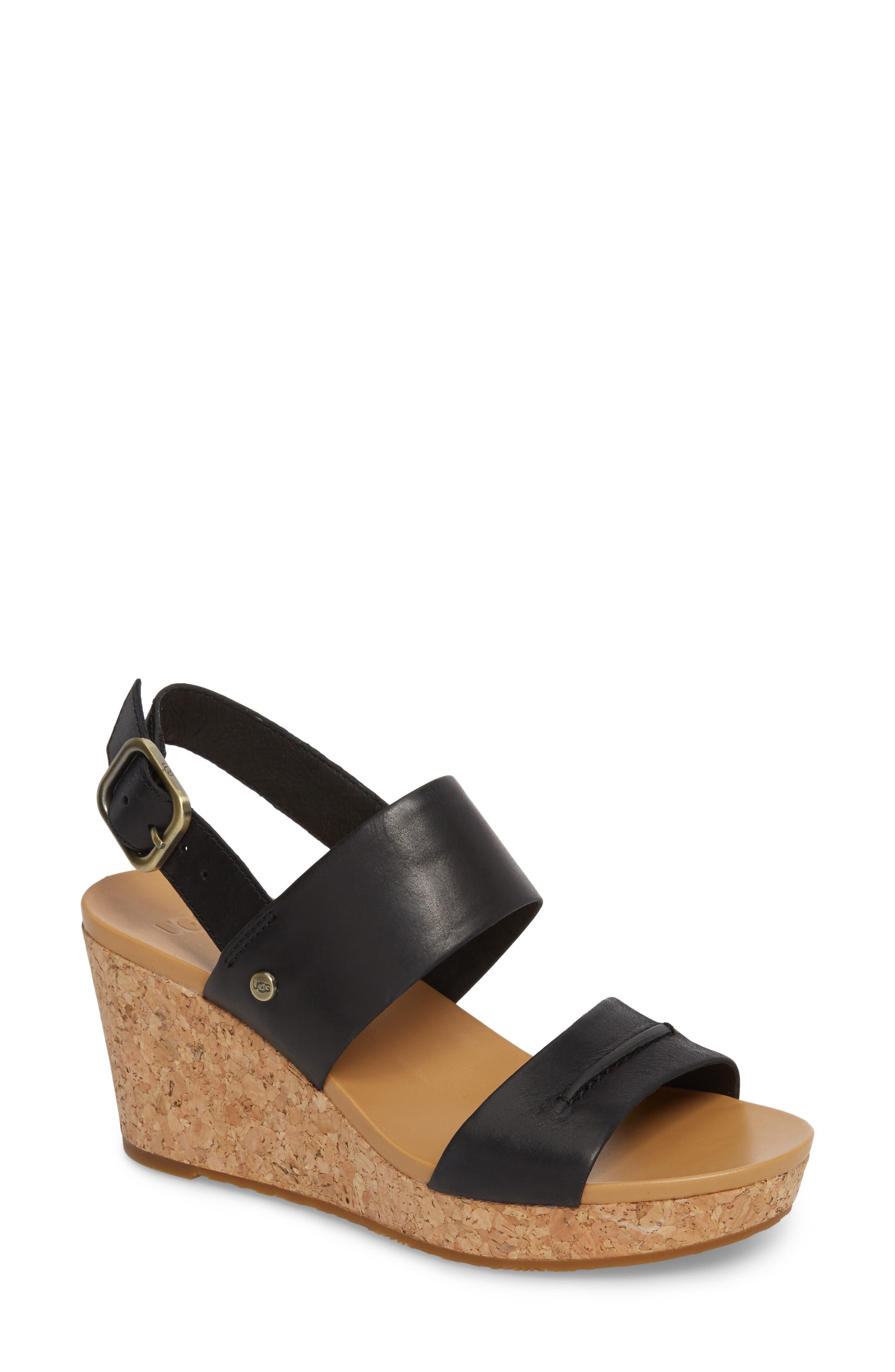 Elena II Platform Wedge Sandal,                             Main thumbnail 1, color,                             001