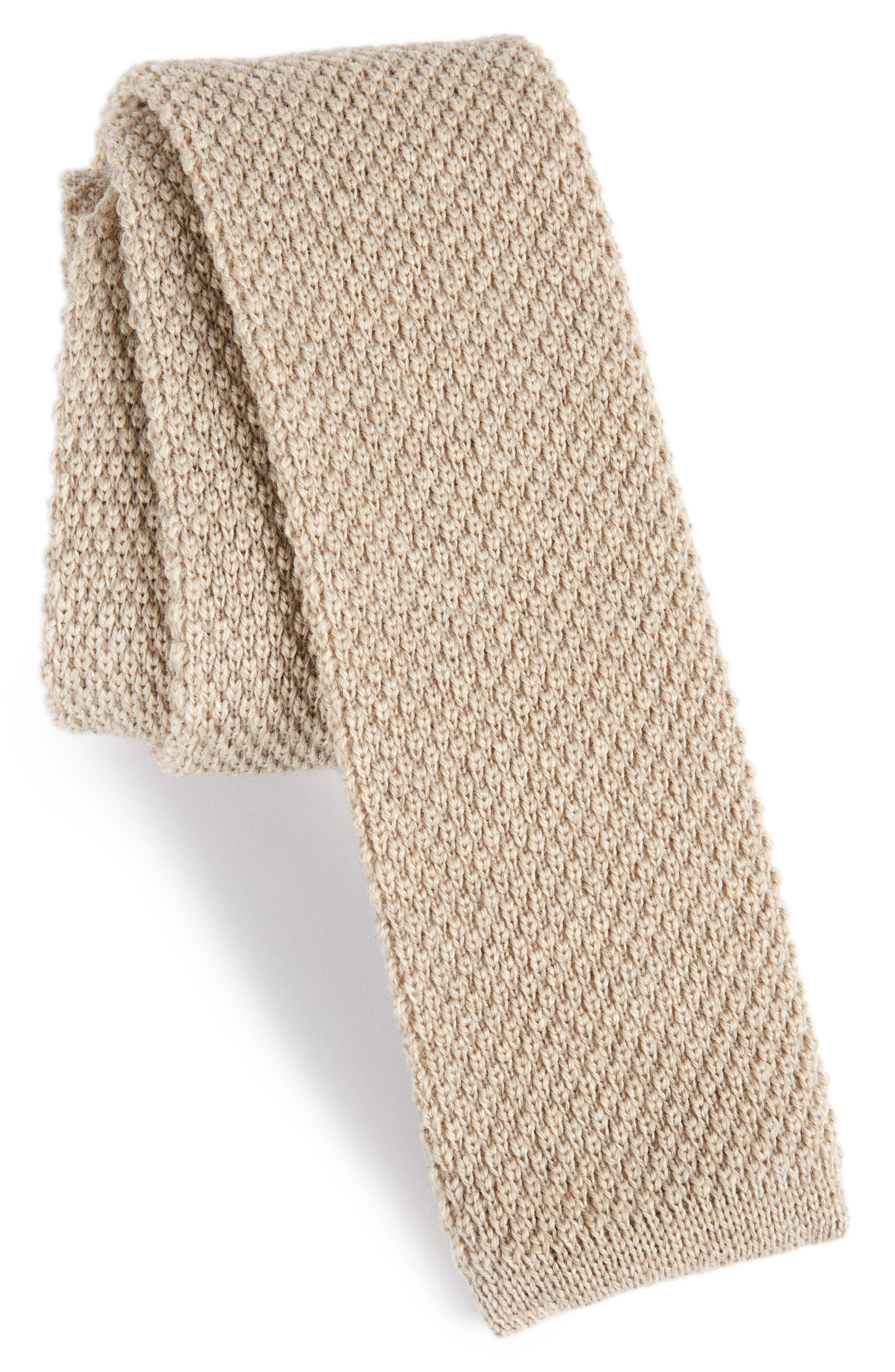 Solid Knit Wool Skinny Tie,                             Main thumbnail 2, color,