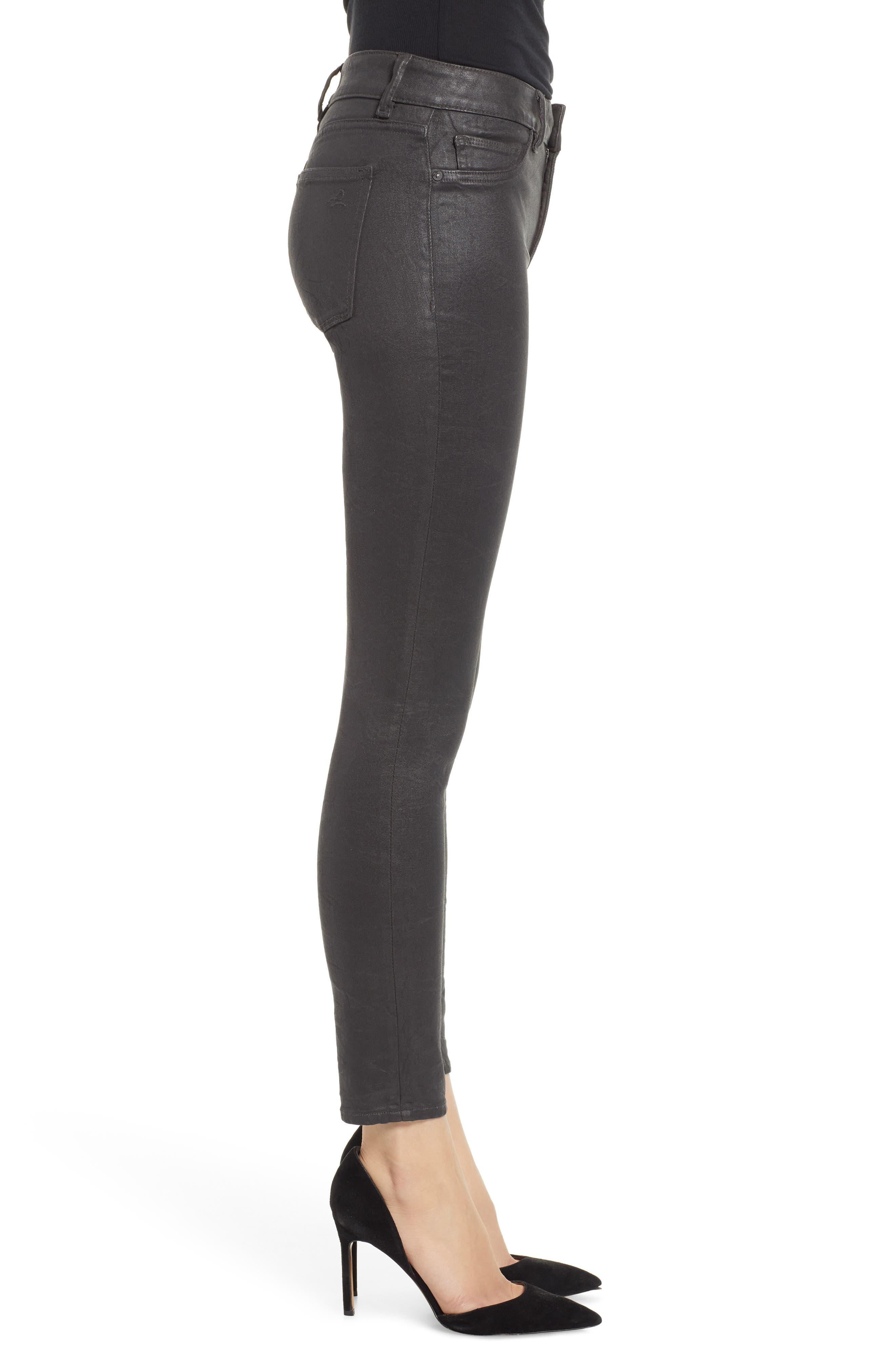Florence Instasculpt Coated Ankle Skinny Jeans,                             Alternate thumbnail 3, color,                             PEWTER