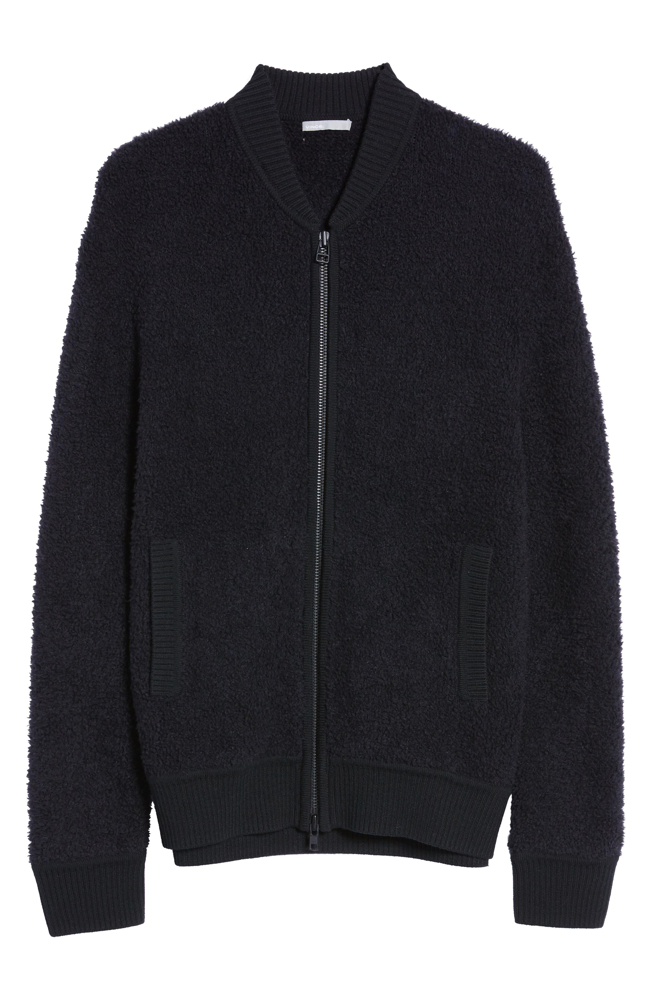 Fleece Wool Blend Bomber Jacket,                             Alternate thumbnail 5, color,                             001