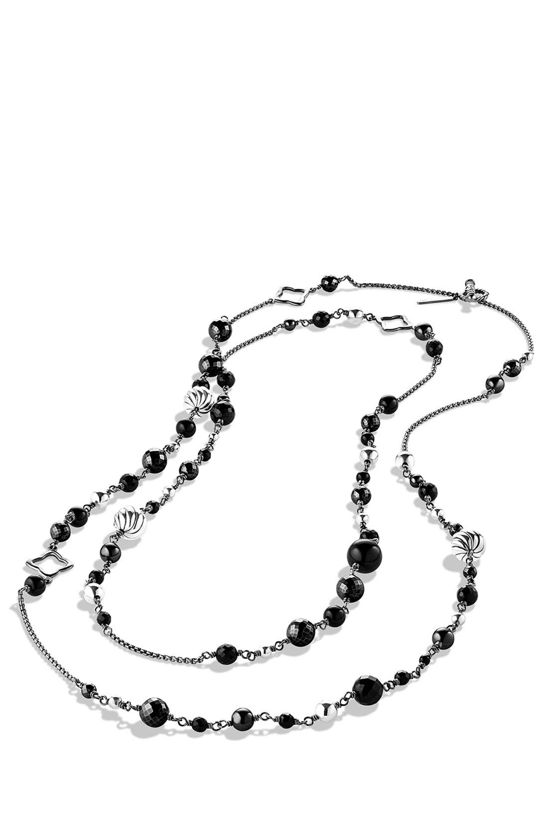 'DY Elements' Chain Necklace with Black Onyx and Hematine,                             Alternate thumbnail 3, color,                             BLACK ONYX
