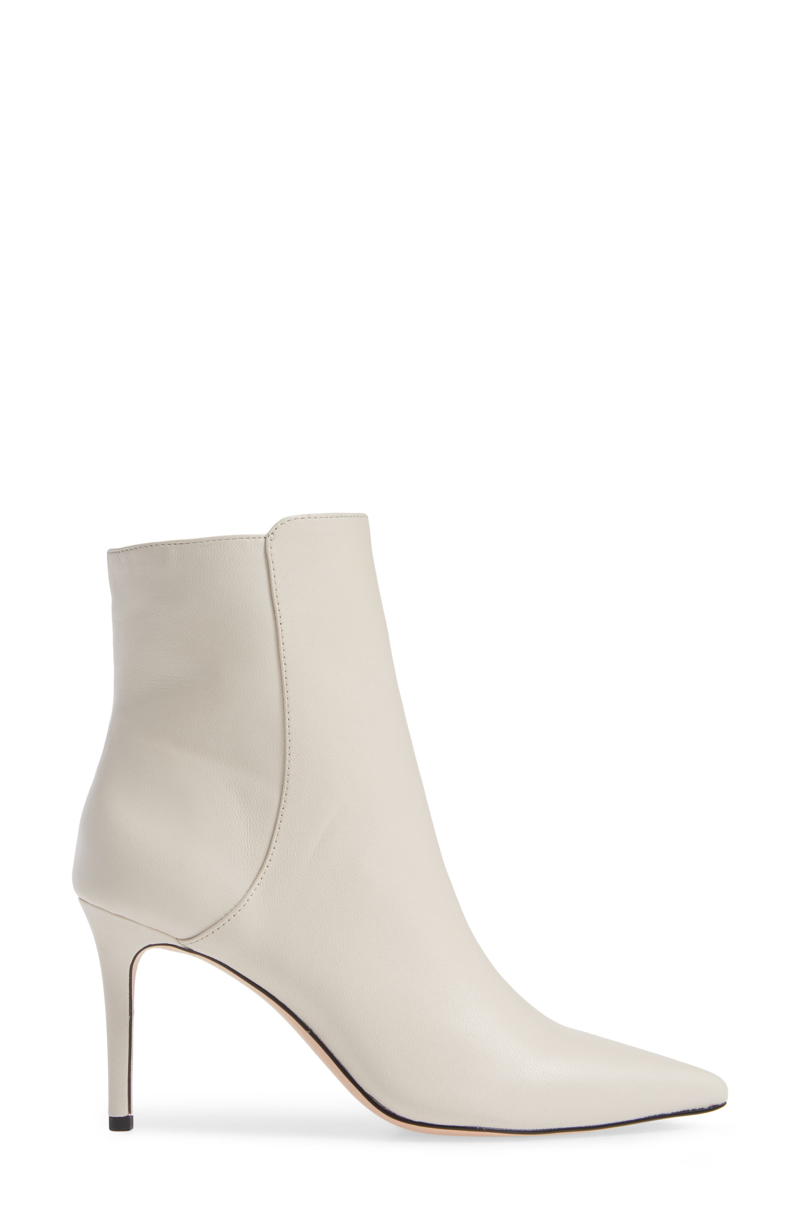 Pointed Stiletto Ankle Bootie,                             Alternate thumbnail 3, color,                             STONE LEATHER