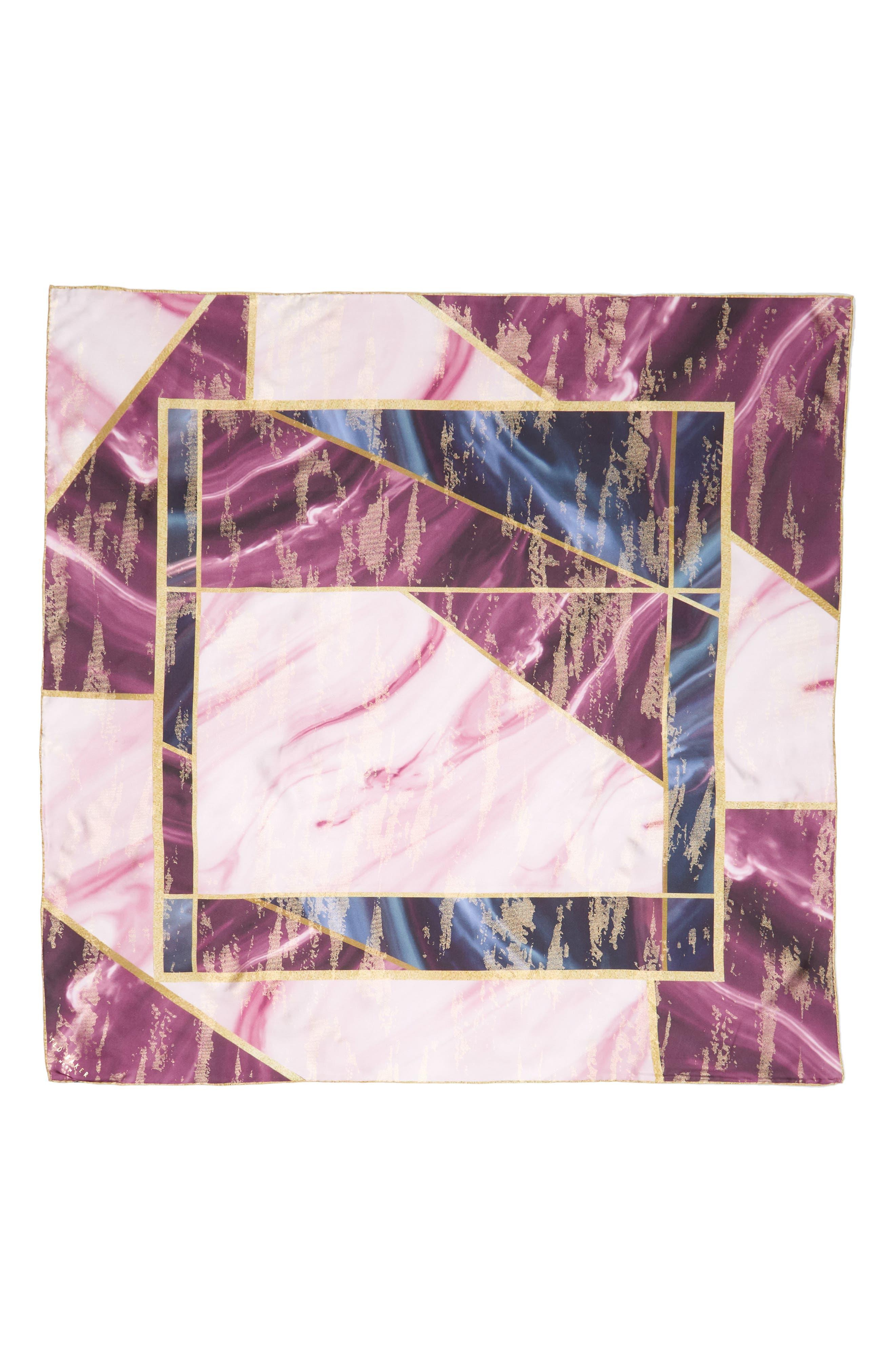Balmoral Marble Square Silk Scarf,                             Alternate thumbnail 2, color,                             501
