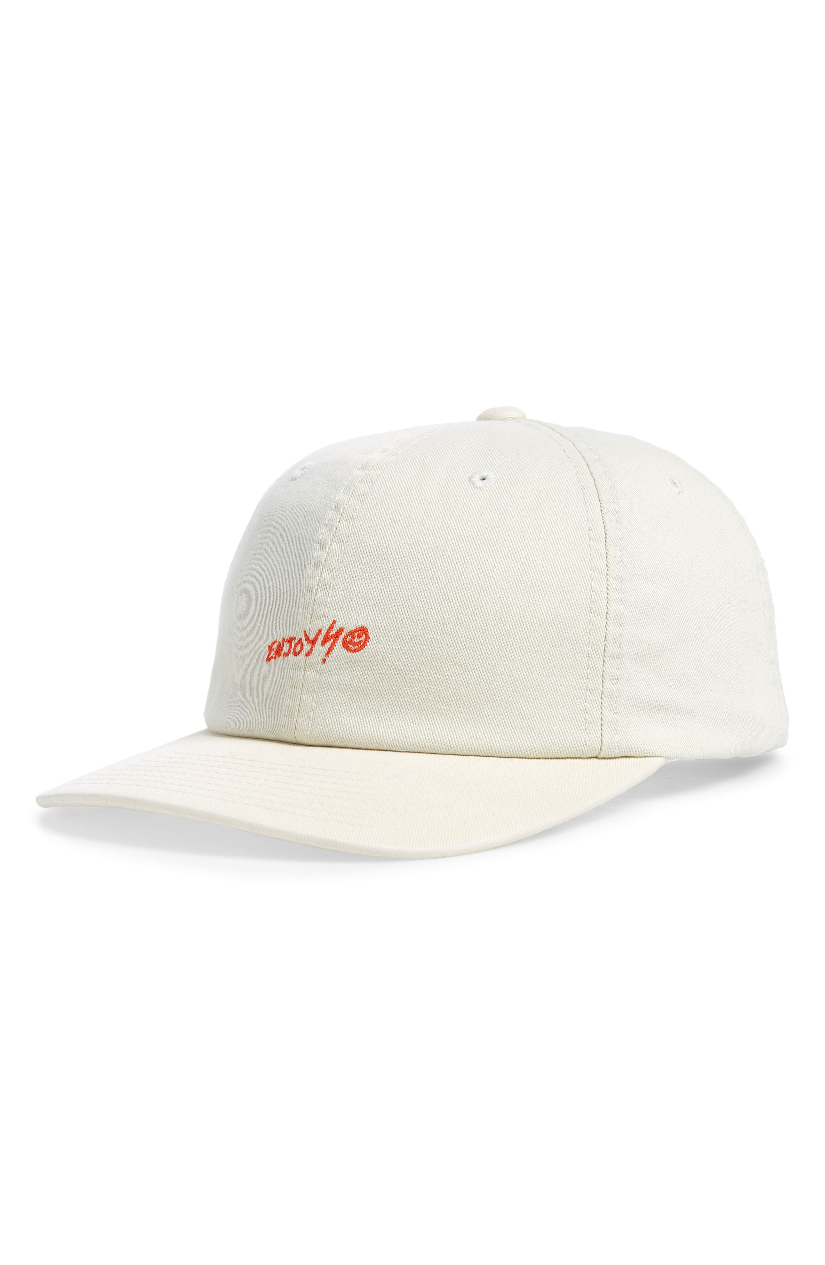 HURLEY Enjoy Embroidered Ball Cap - Brown in Light Cream