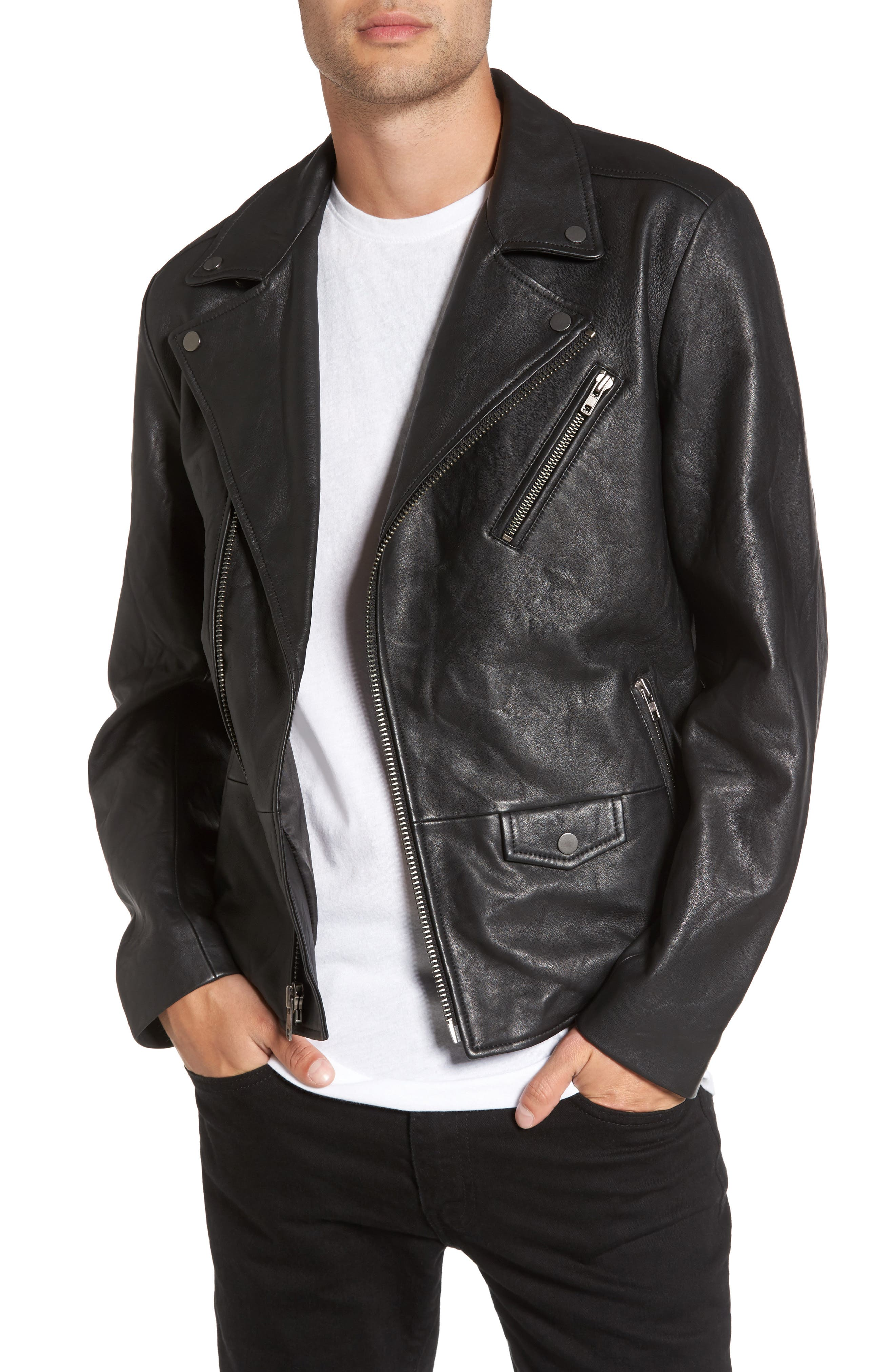 Leather Biker Jacket,                             Main thumbnail 1, color,                             001