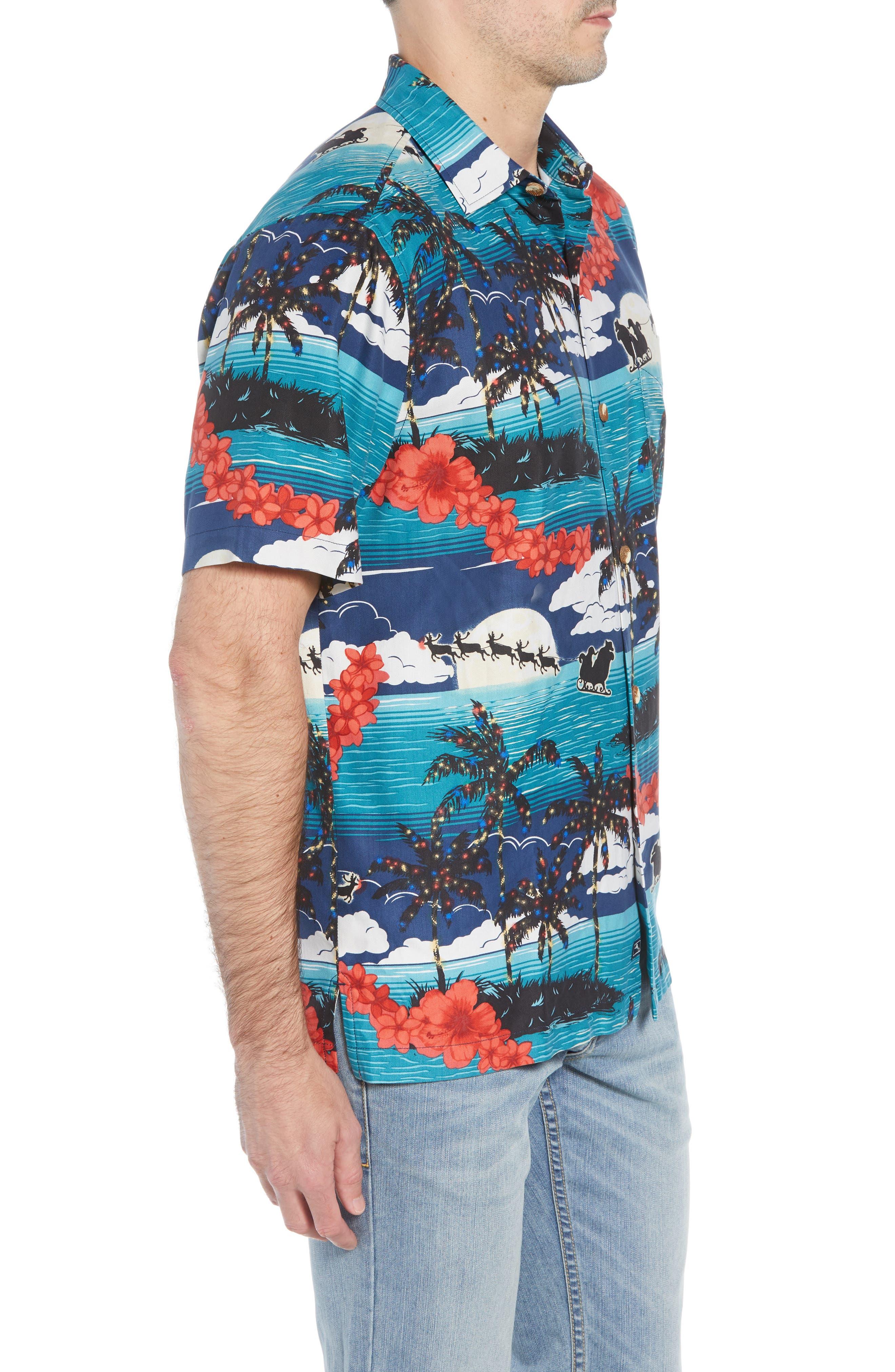 Moonlight In Paradise Silk Camp Shirt,                             Alternate thumbnail 4, color,                             OCEAN DEEP