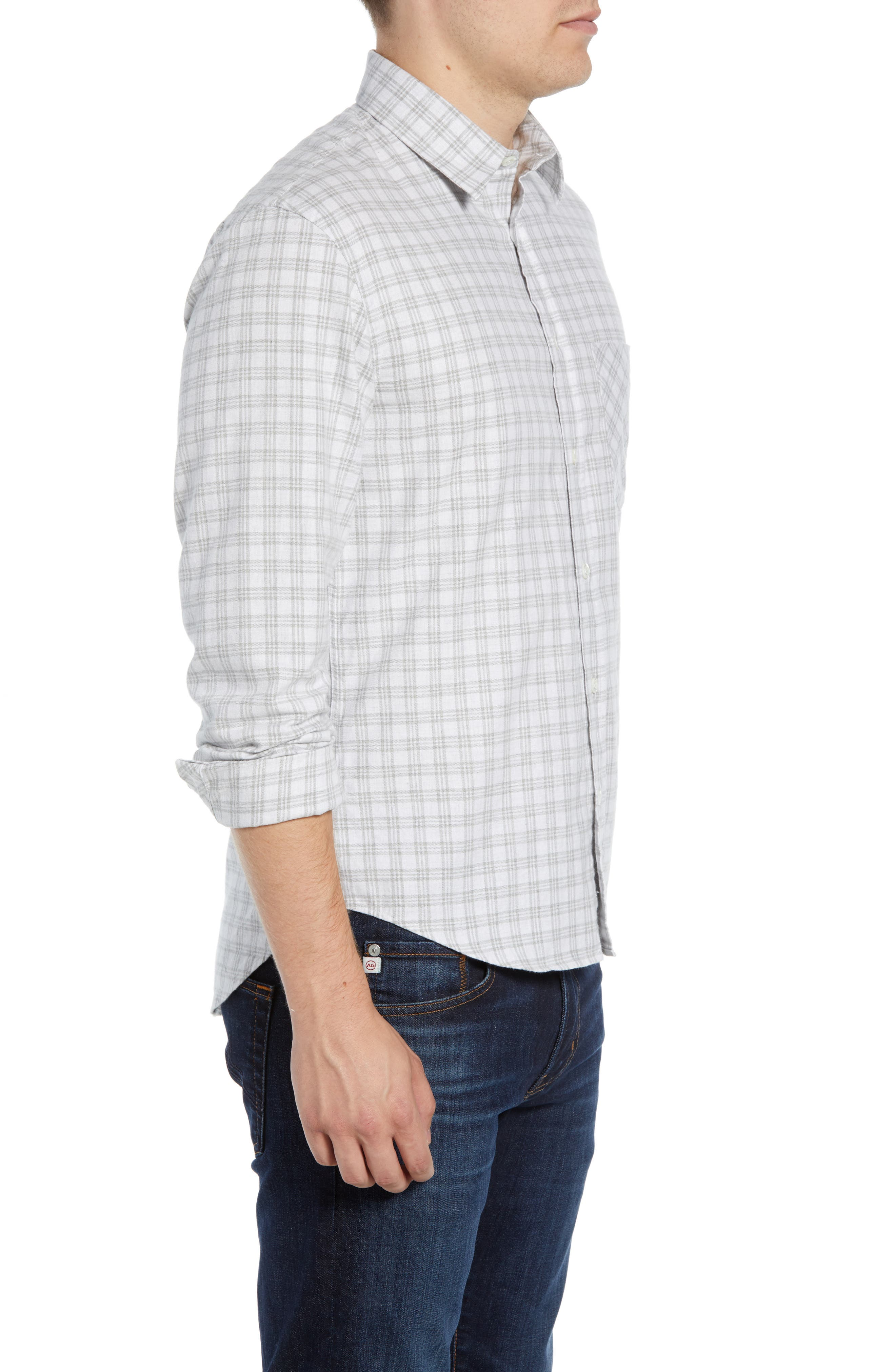 Kirby Slim Fit Check Sport Shirt,                             Alternate thumbnail 4, color,                             LIGHT GREY/ NATURAL