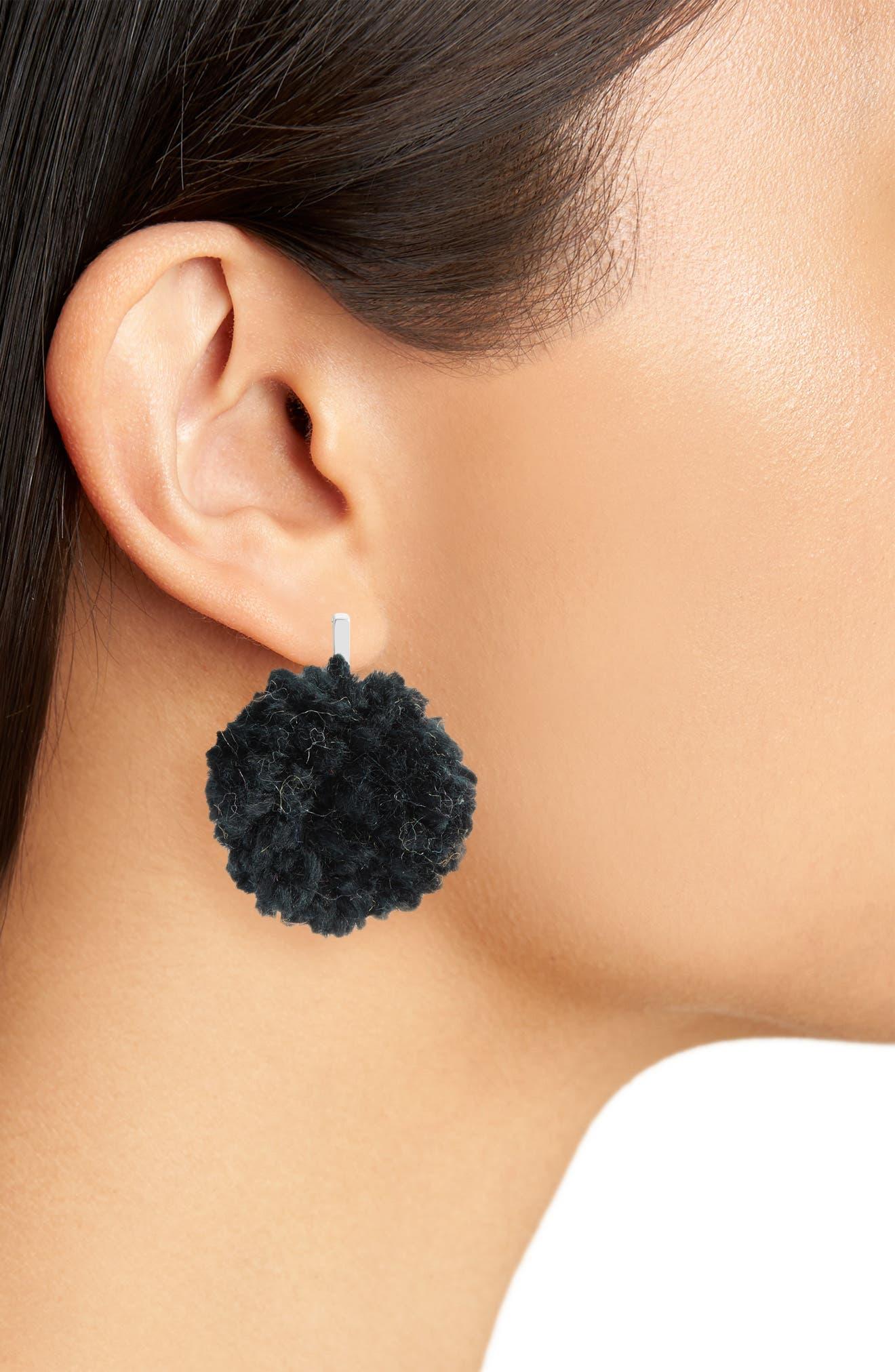 Yarn Pompom Stud Earrings,                             Alternate thumbnail 2, color,                             001