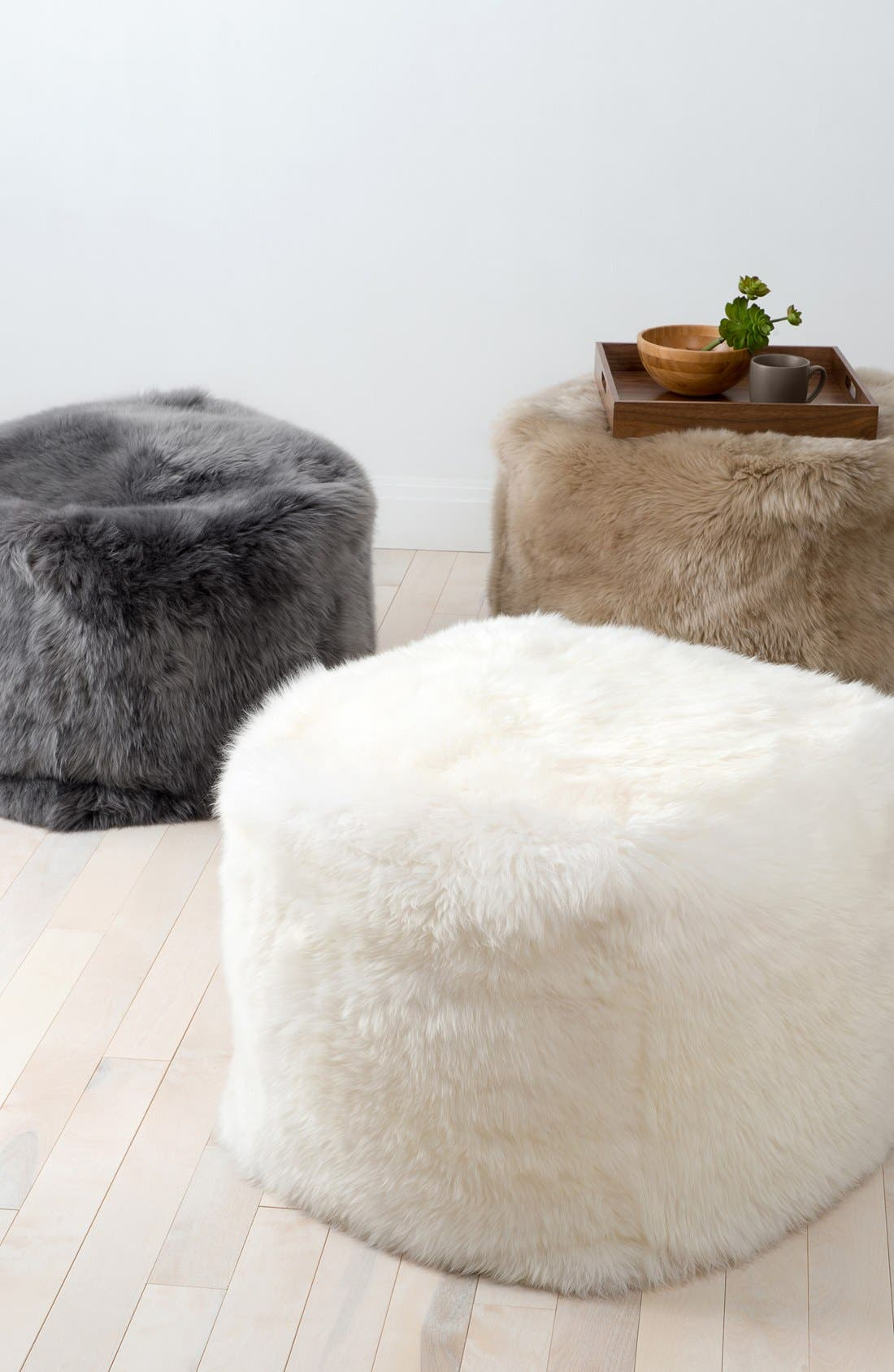 Genuine Shearling Pouf,                             Alternate thumbnail 2, color,                             GREY