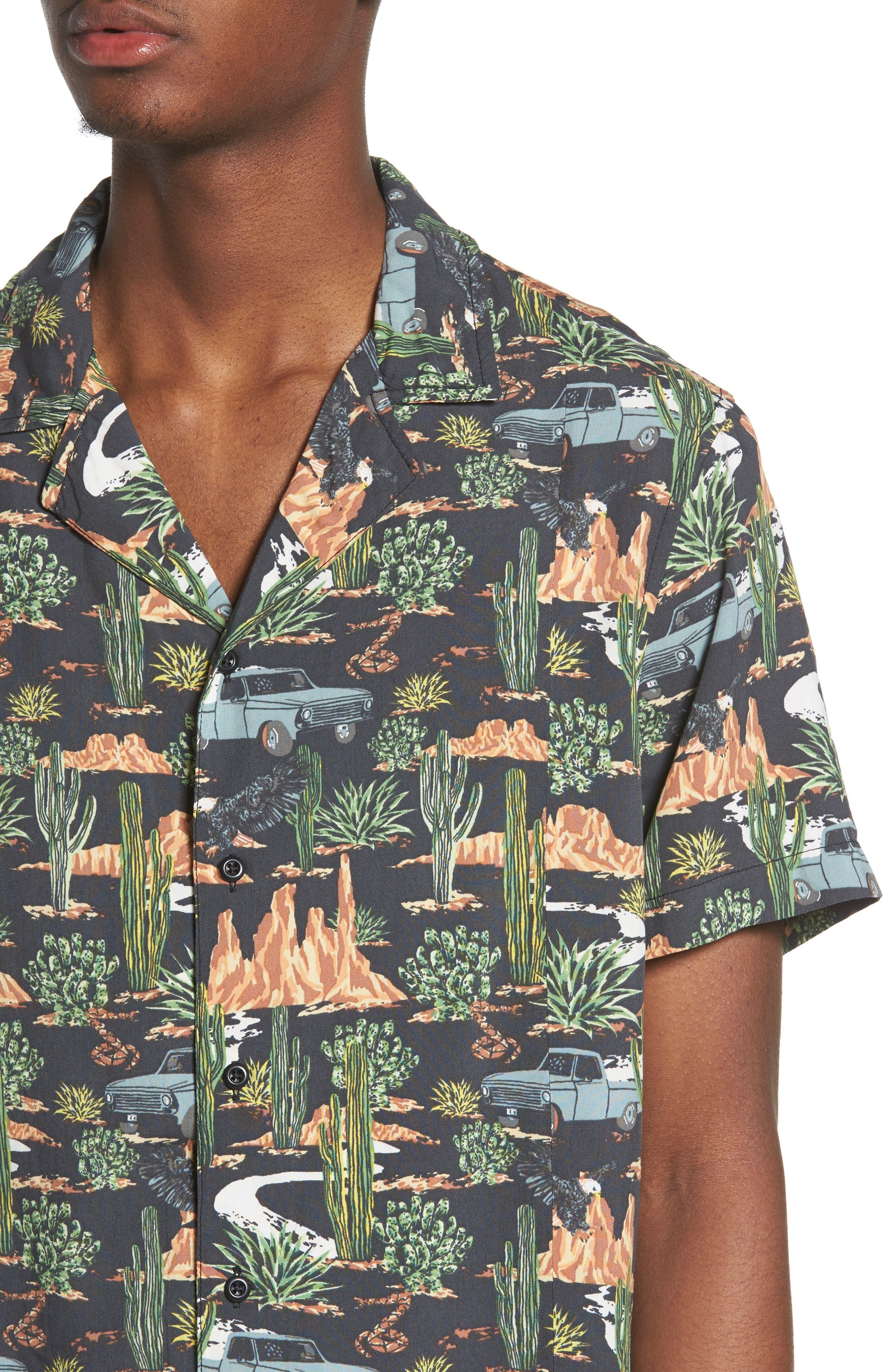 Print Camp Shirt,                             Alternate thumbnail 4, color,                             GREY ON THE ROAD PRINT