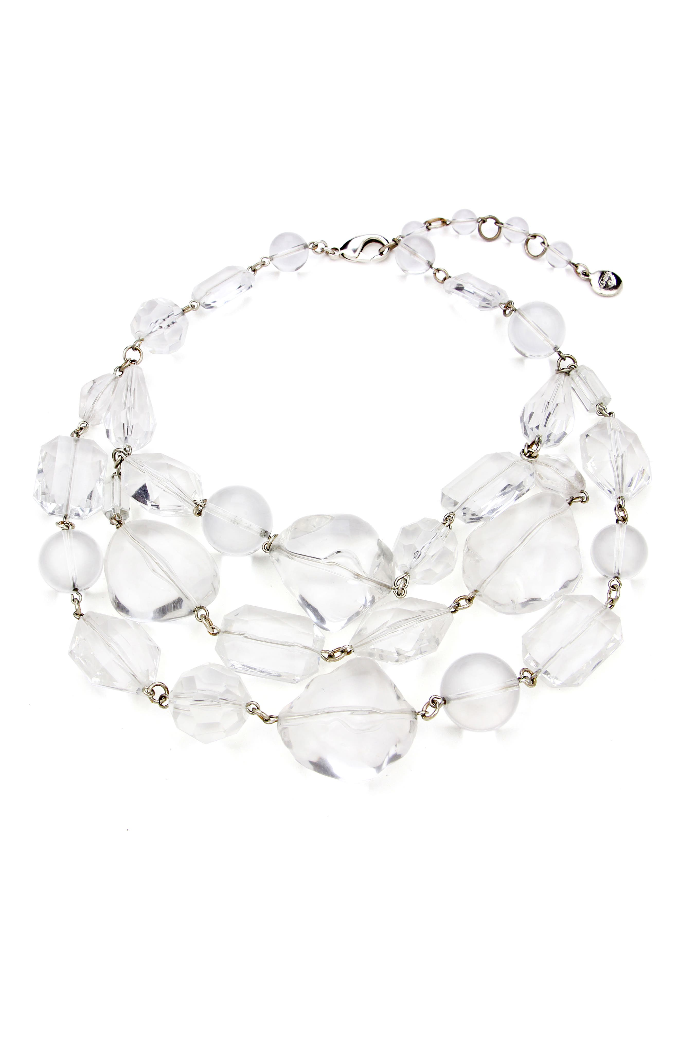 BEN-AMUN Multilayer Geometric Necklace, Main, color, CLEAR/ SILVER