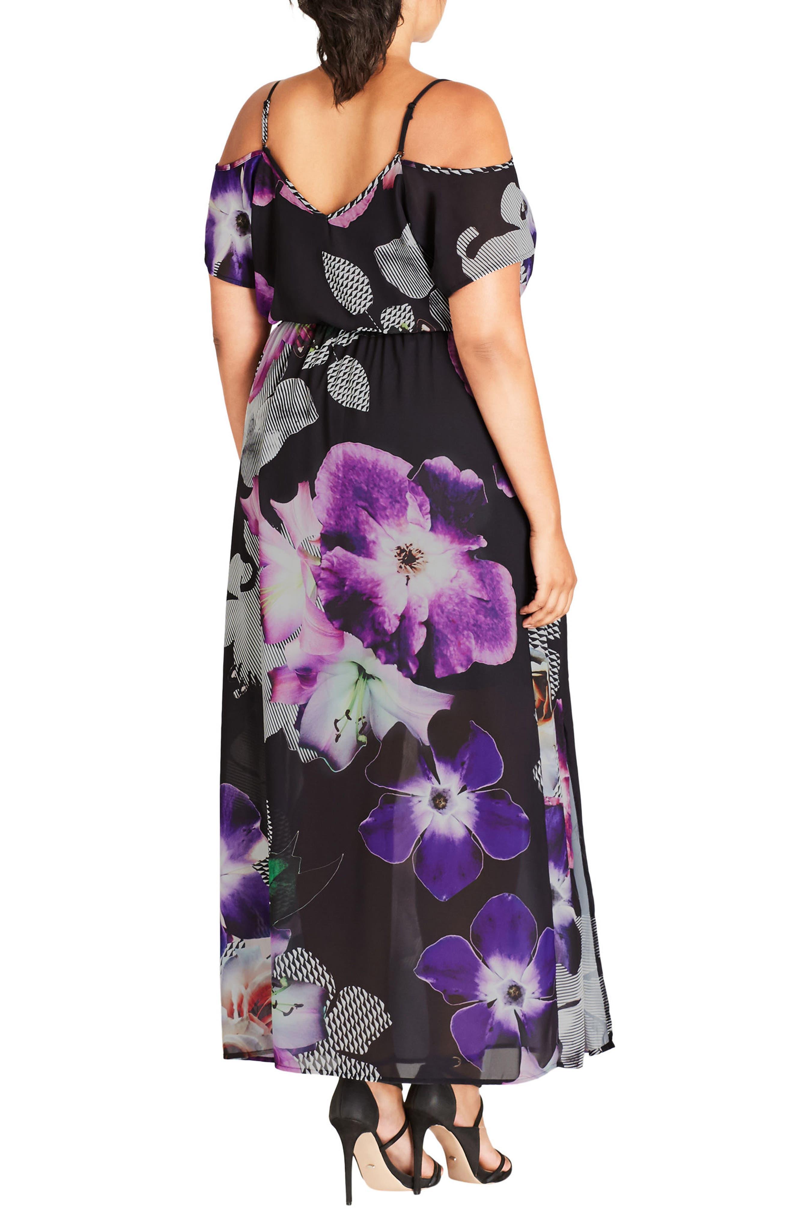 Floral Print Cold Shoulder Maxi Dress,                             Alternate thumbnail 2, color,                             650
