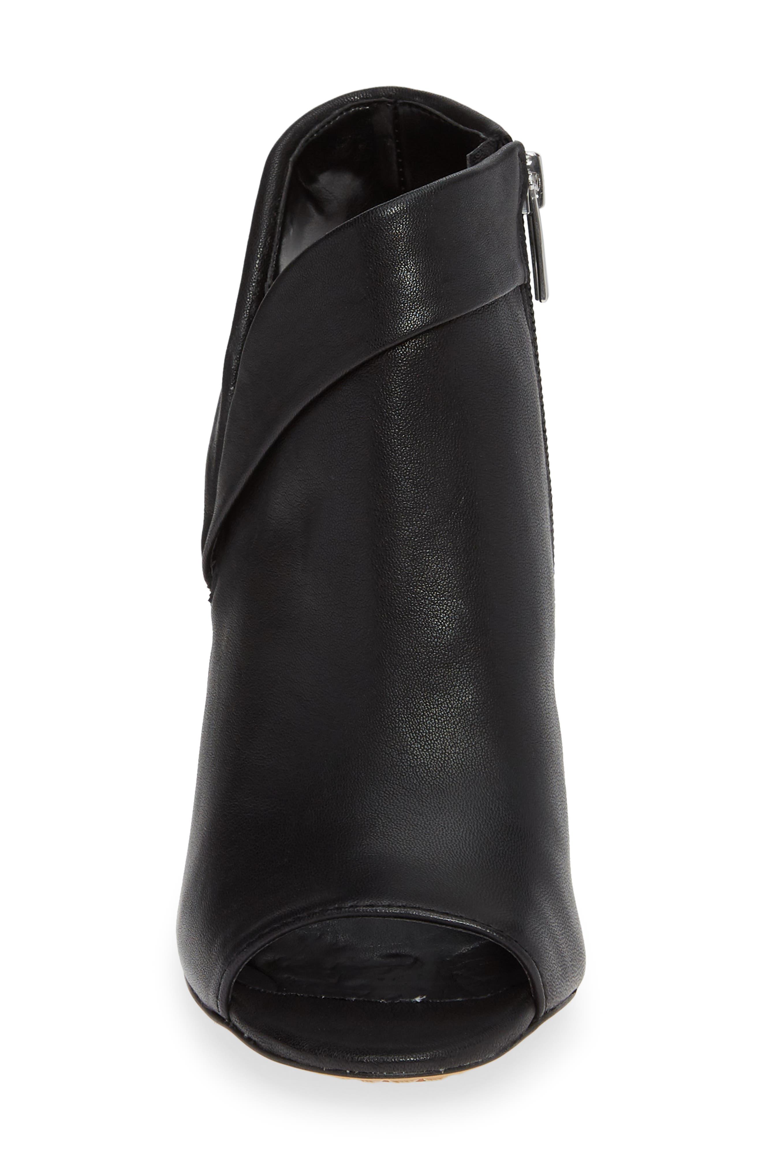 Cholia Asymmetrical Sandal Bootie,                             Alternate thumbnail 4, color,                             BLACK LEATHER