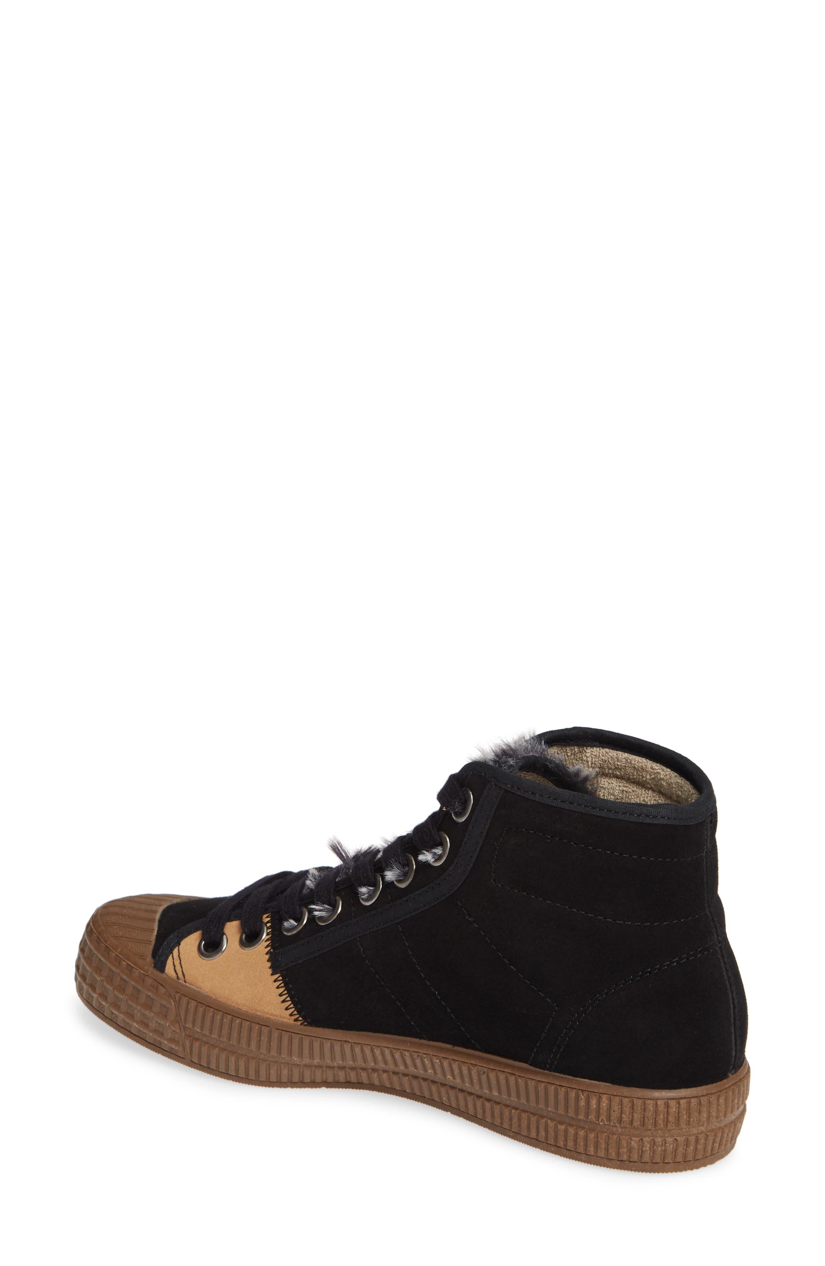 Femp High Top Sneaker,                             Alternate thumbnail 2, color,                             BLACK/ CAMEL SUEDE