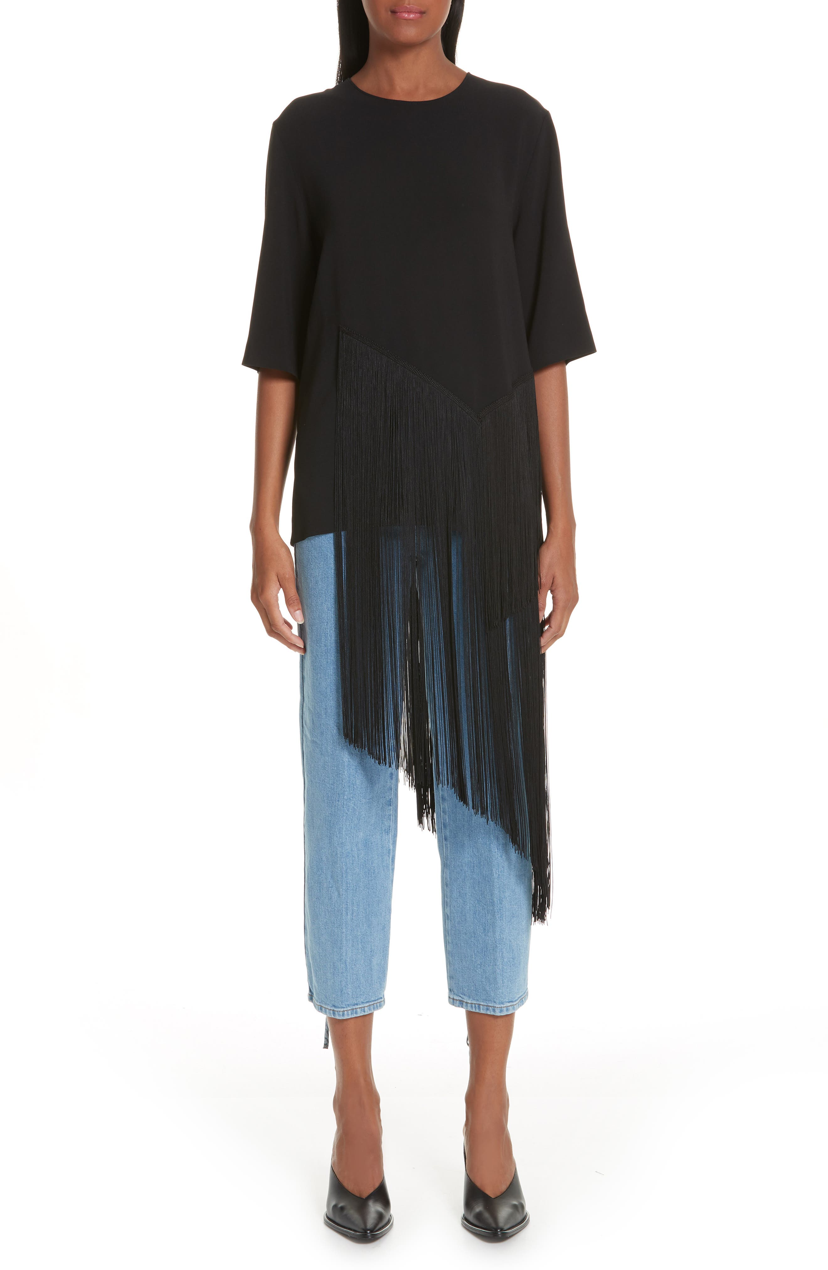 Stretch Cady Fringe Top,                             Main thumbnail 1, color,                             BLACK