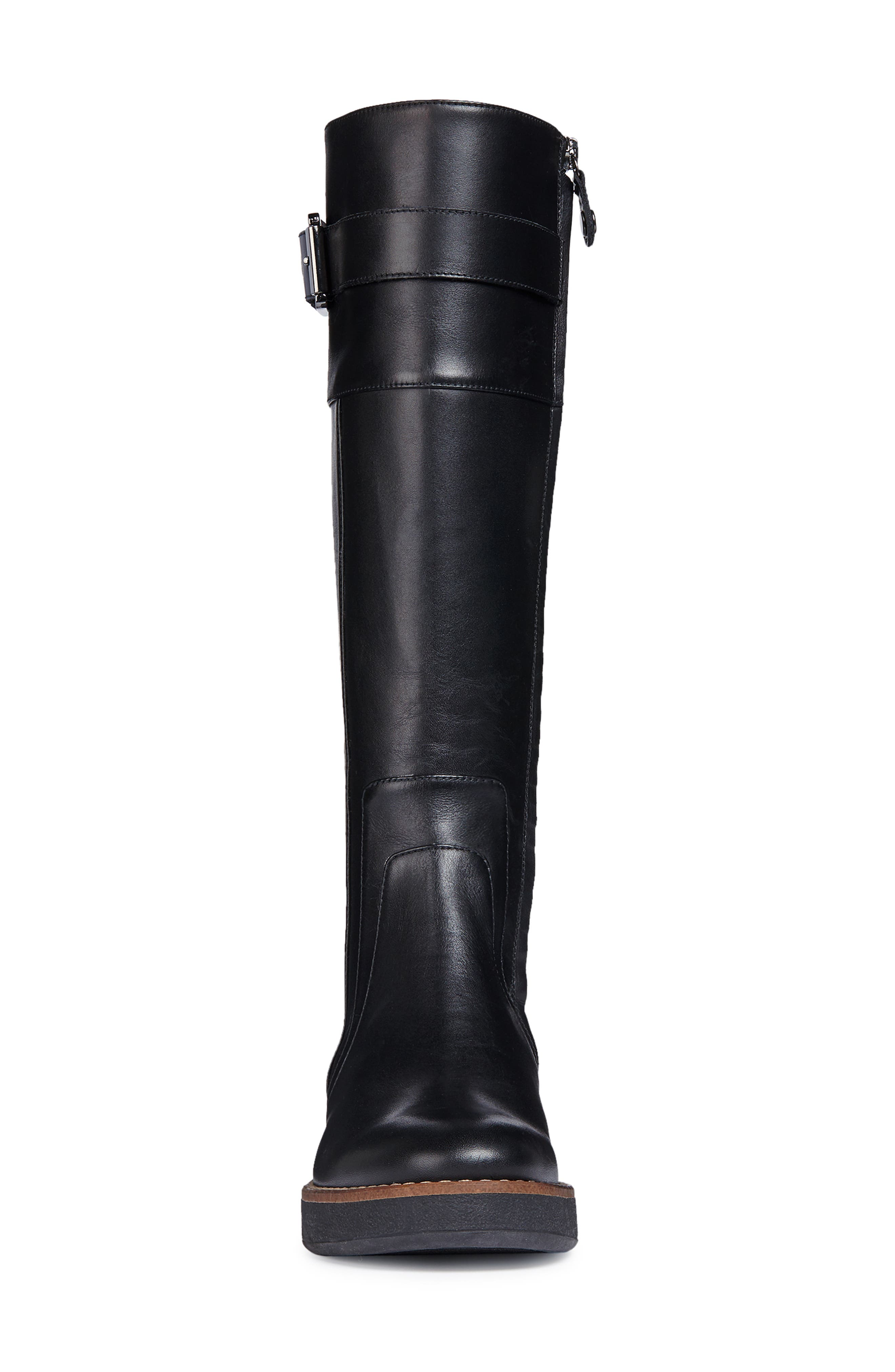 Adrya Knee High Boot,                             Alternate thumbnail 4, color,                             BLACK LEATHER