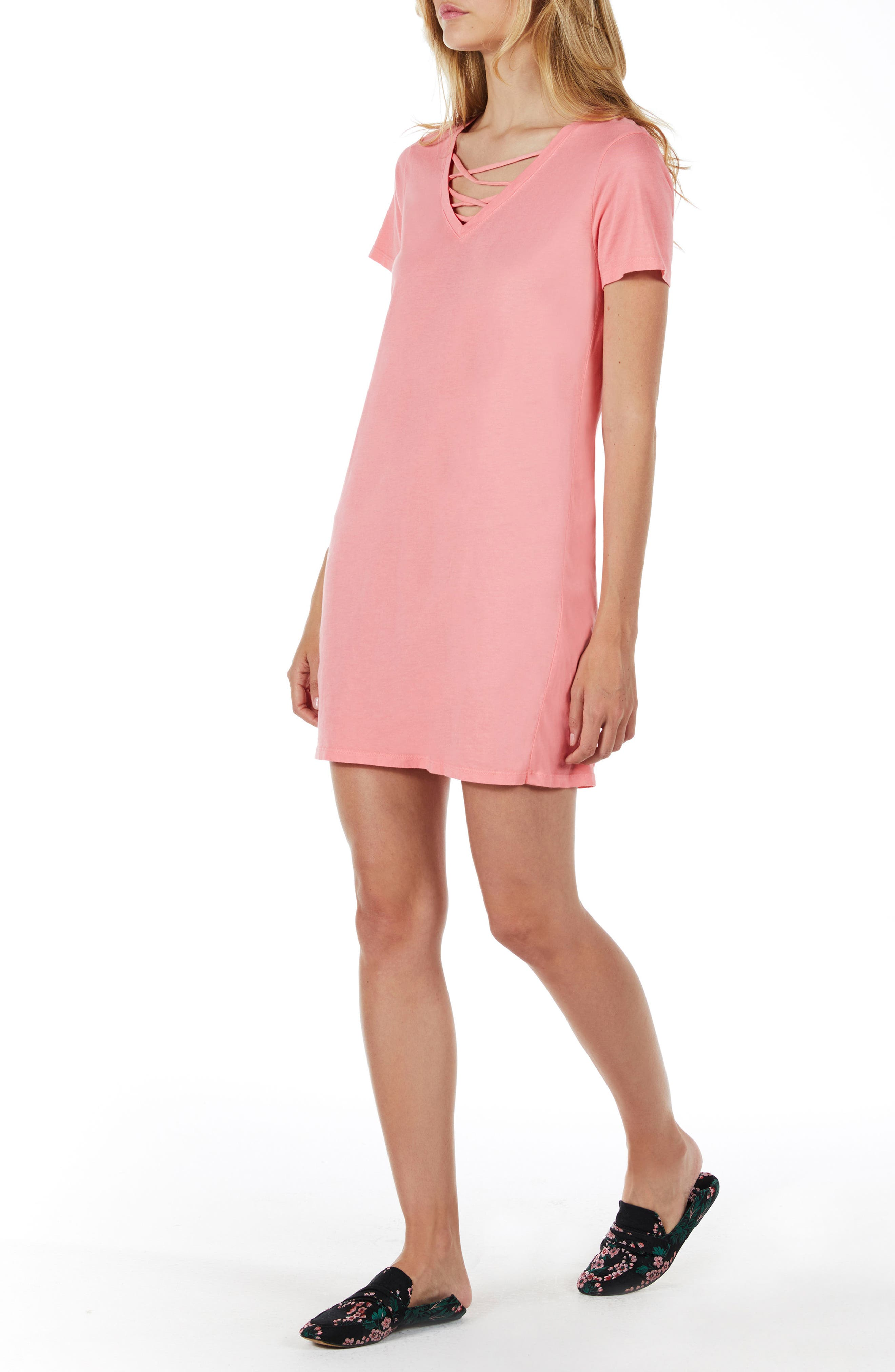Strappy V-Neck Shift Dress,                             Alternate thumbnail 10, color,