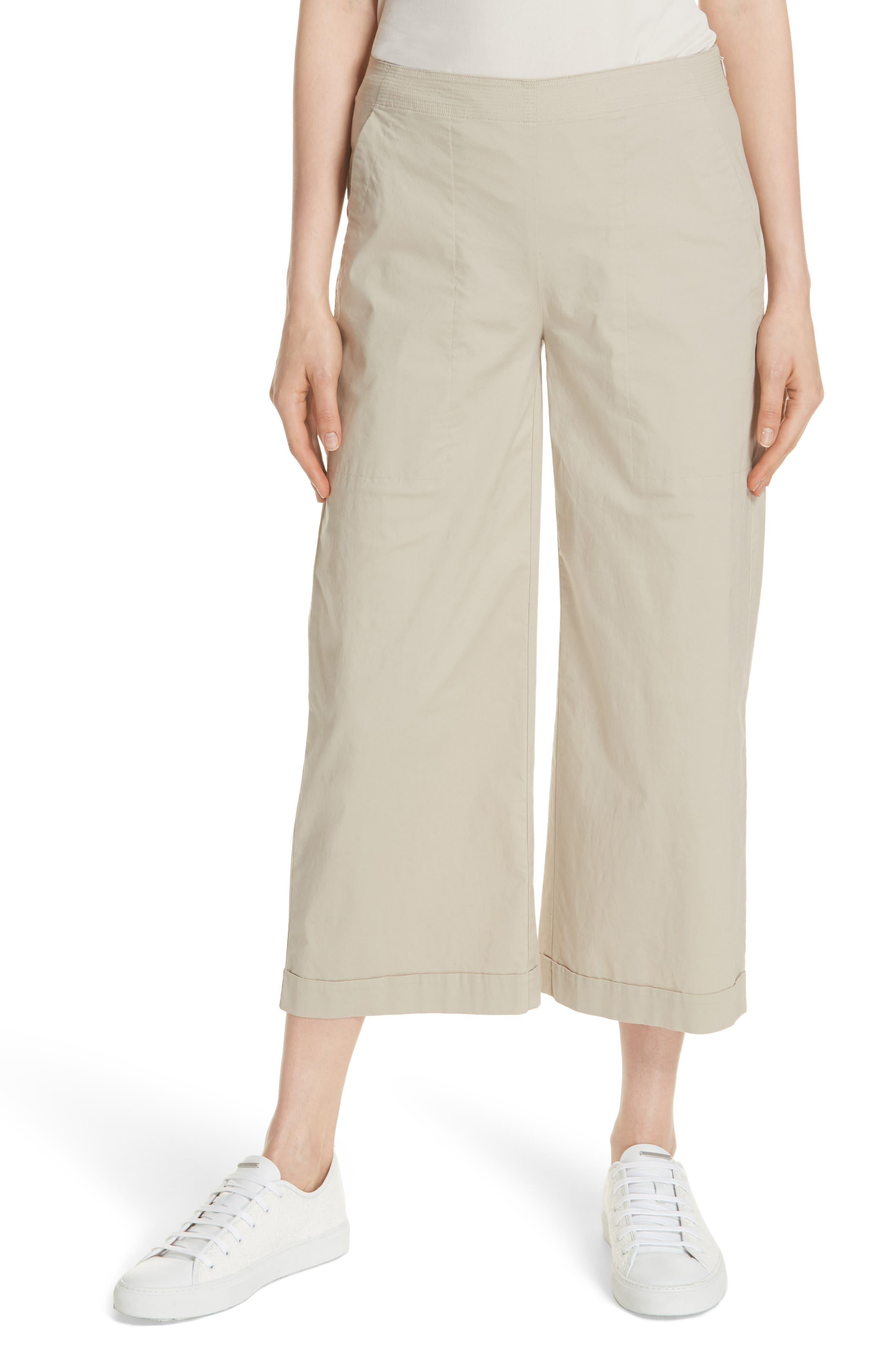 Crop Wide Leg Trouser,                         Main,                         color, KHAKI