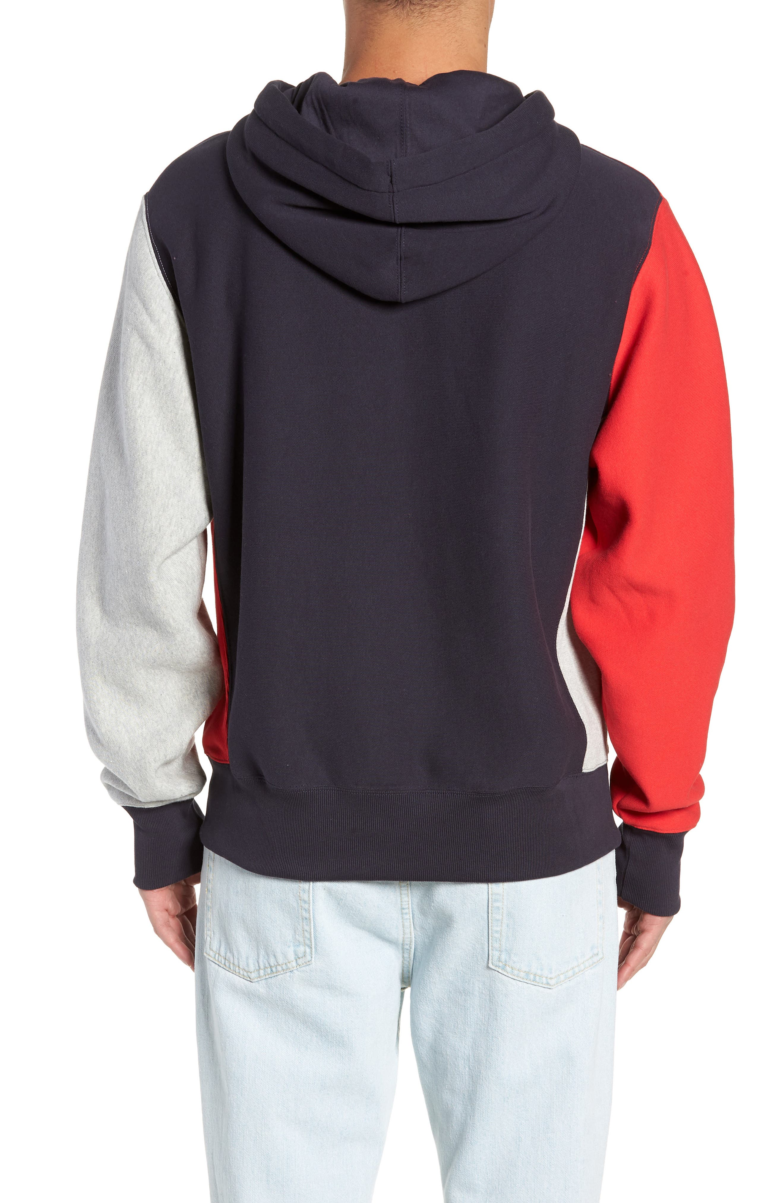 Colorblock Hoodie,                             Alternate thumbnail 2, color,                             NAVY/ OXFORD GREY/ SCARLET