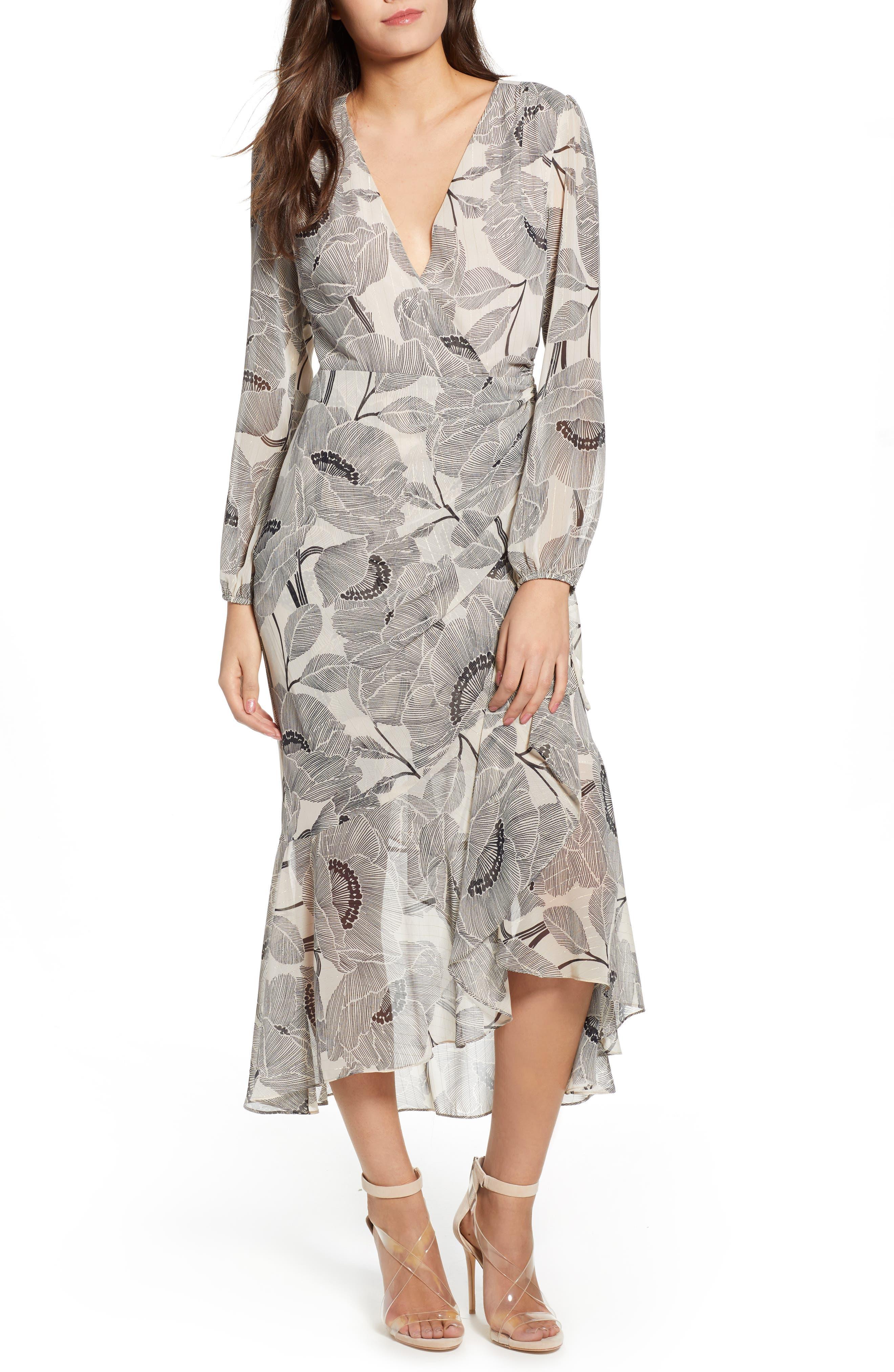 ASTR THE LABEL Floral Print Faux Wrap Dress, Main, color, IVORY FLORAL