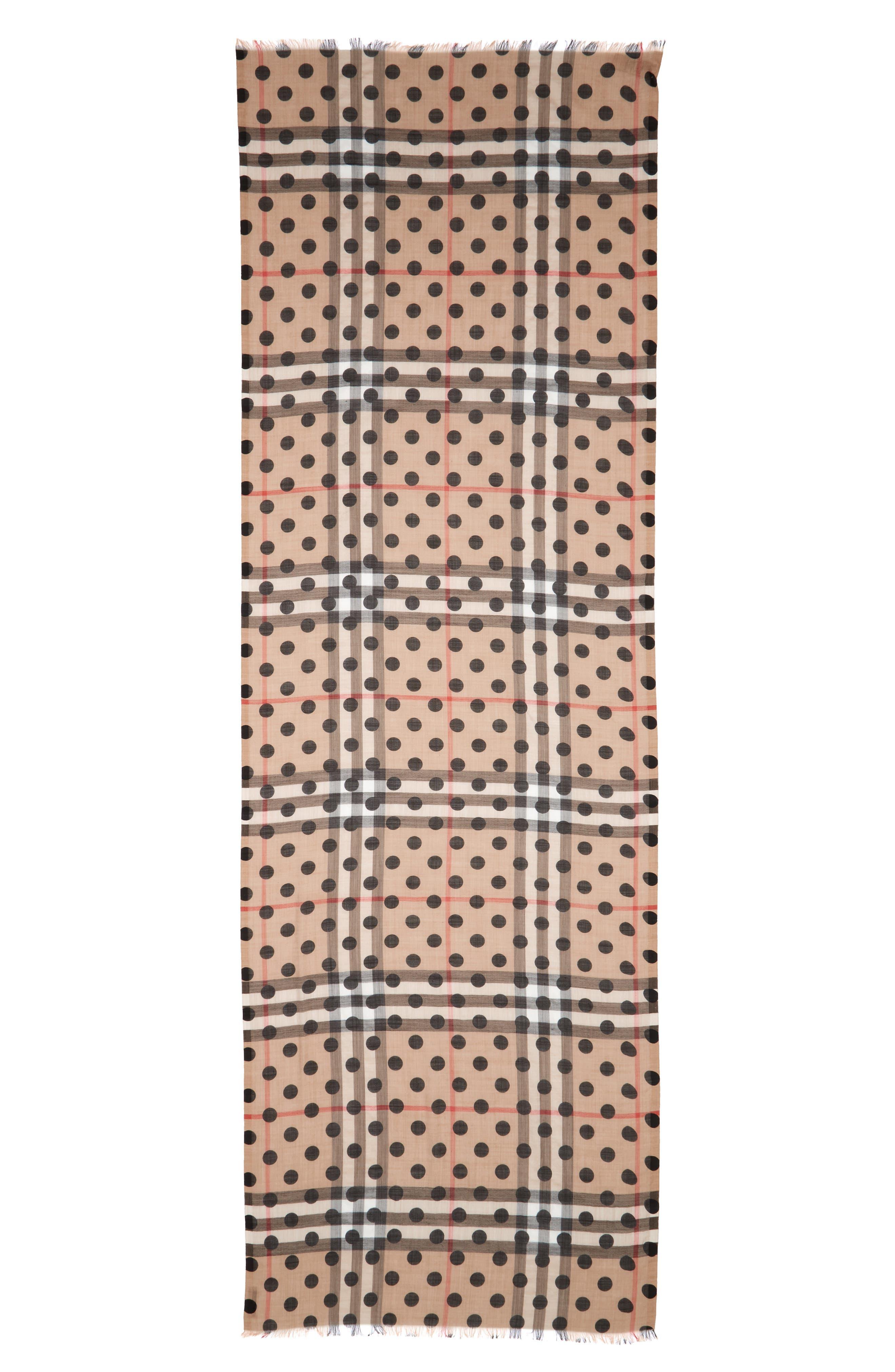 Dot & Giant Check Wool & Silk Gauze Scarf,                             Main thumbnail 1, color,                             650