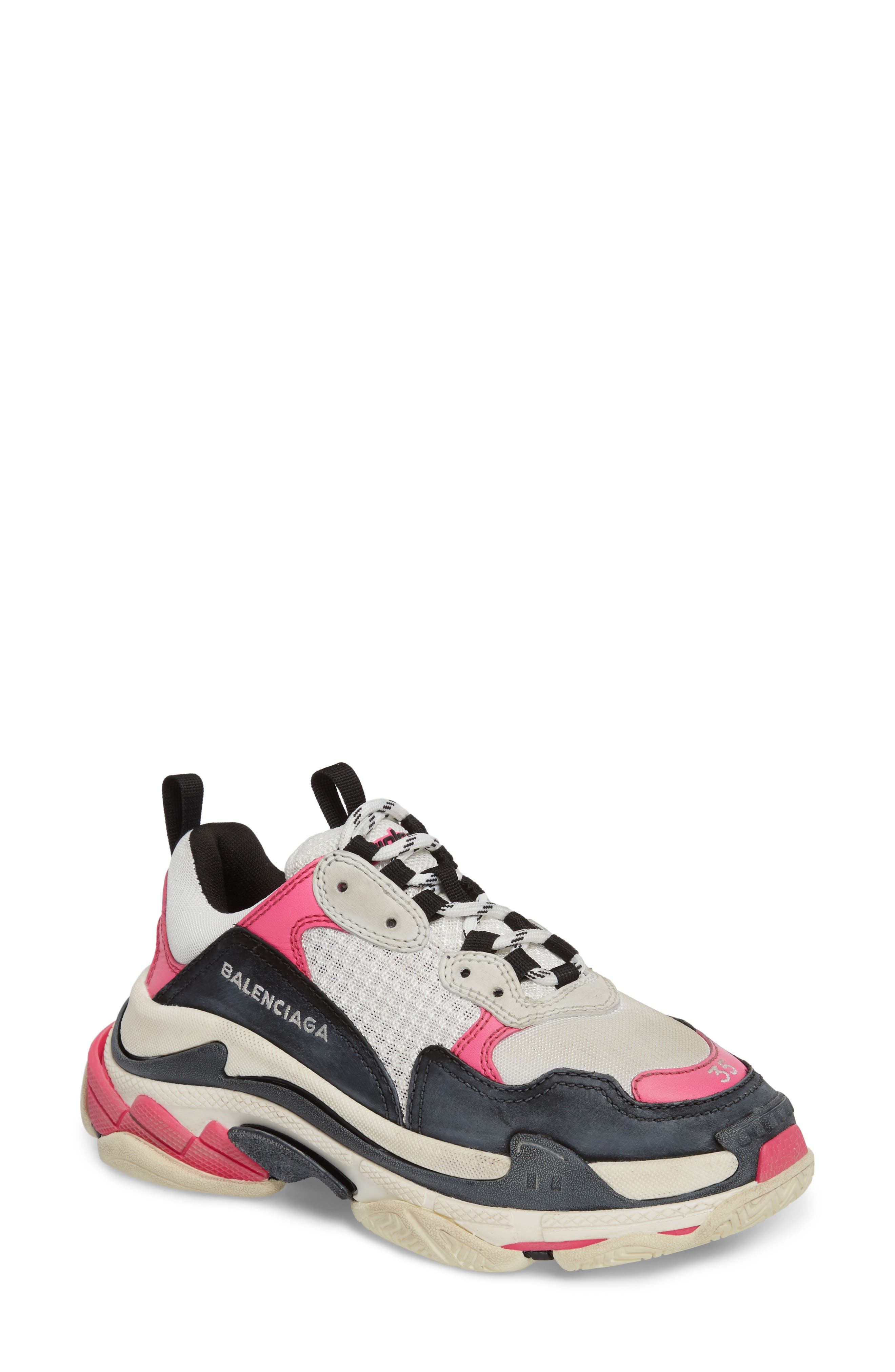 BALENCIAGA,                             Triple S Low Top Sneaker,                             Main thumbnail 1, color,                             WHITE/ BLACK/ PINK