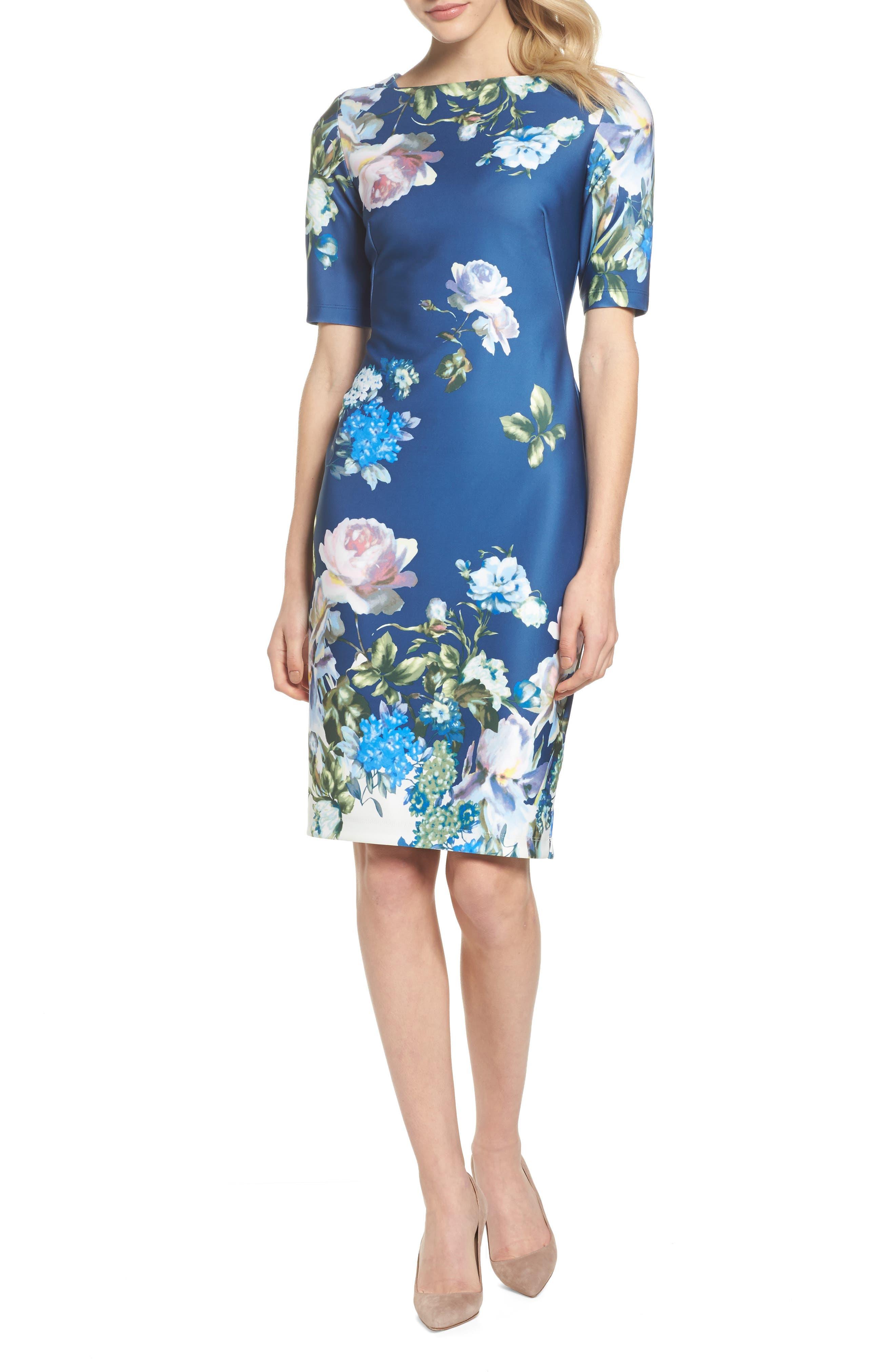 Gabby Skype Scuba Sheath Dress,                             Main thumbnail 1, color,                             410