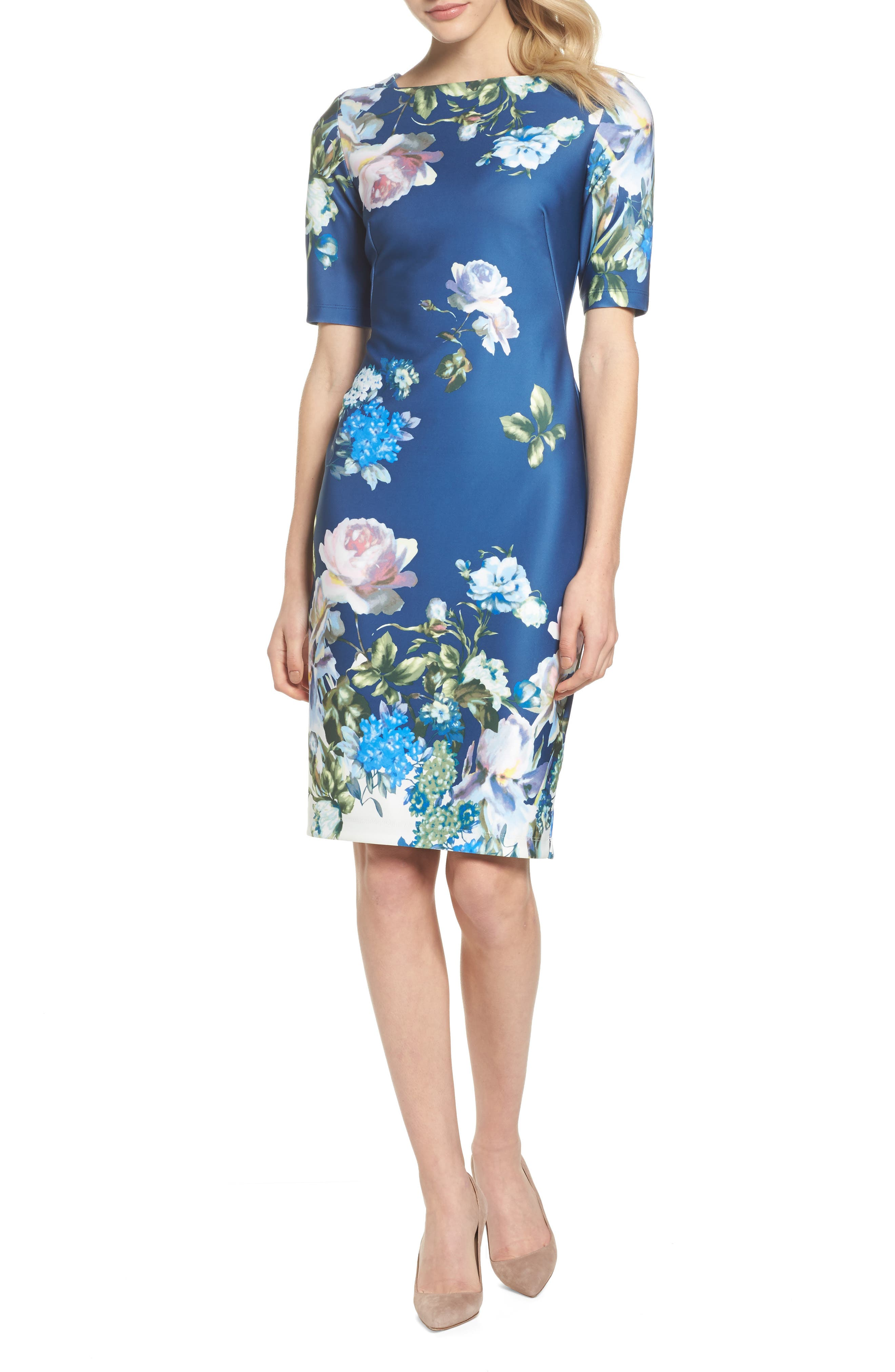 Gabby Skype Scuba Sheath Dress,                         Main,                         color, 410