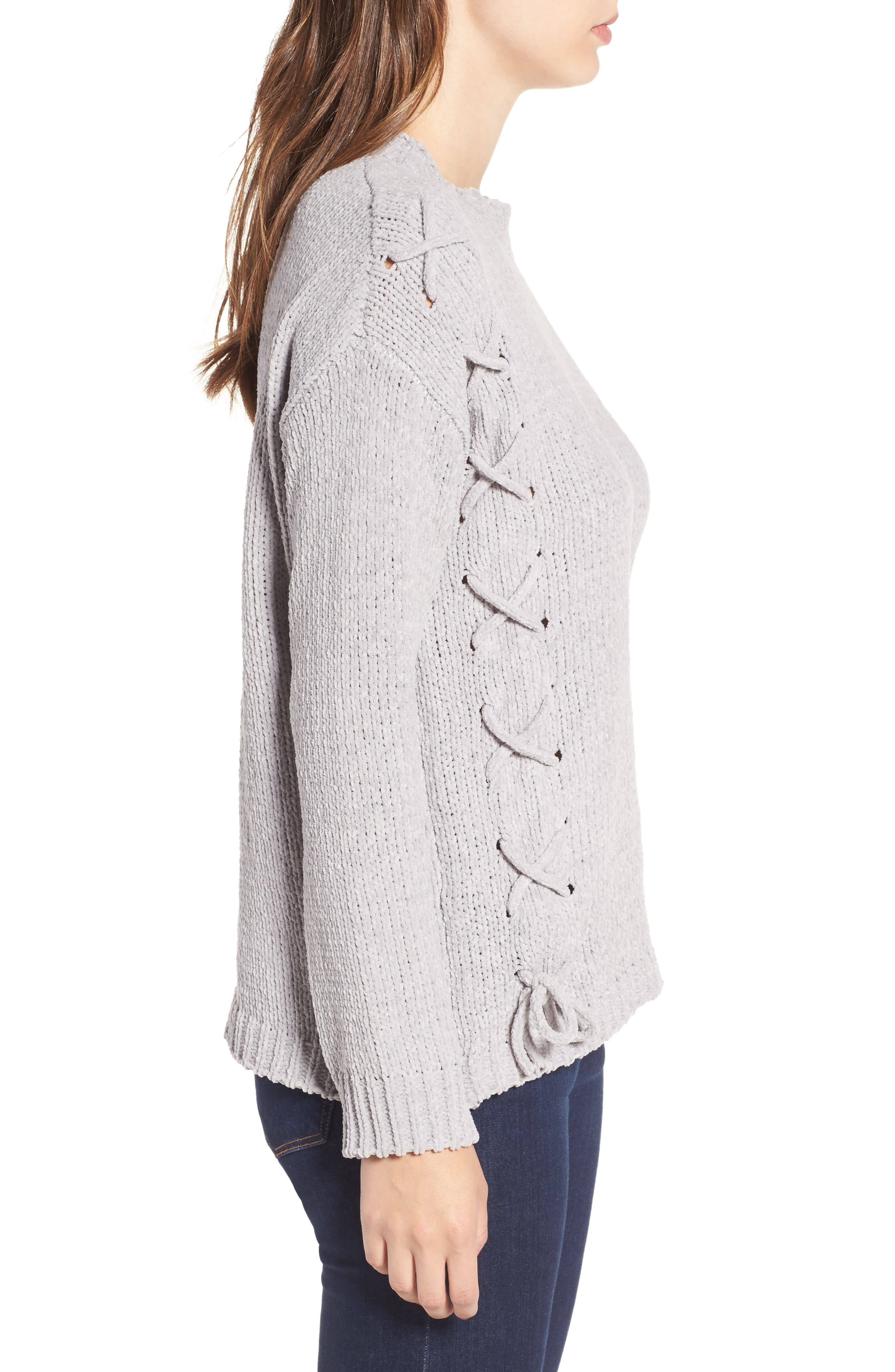 Lace-Up Chenille Pullover,                             Alternate thumbnail 3, color,                             020
