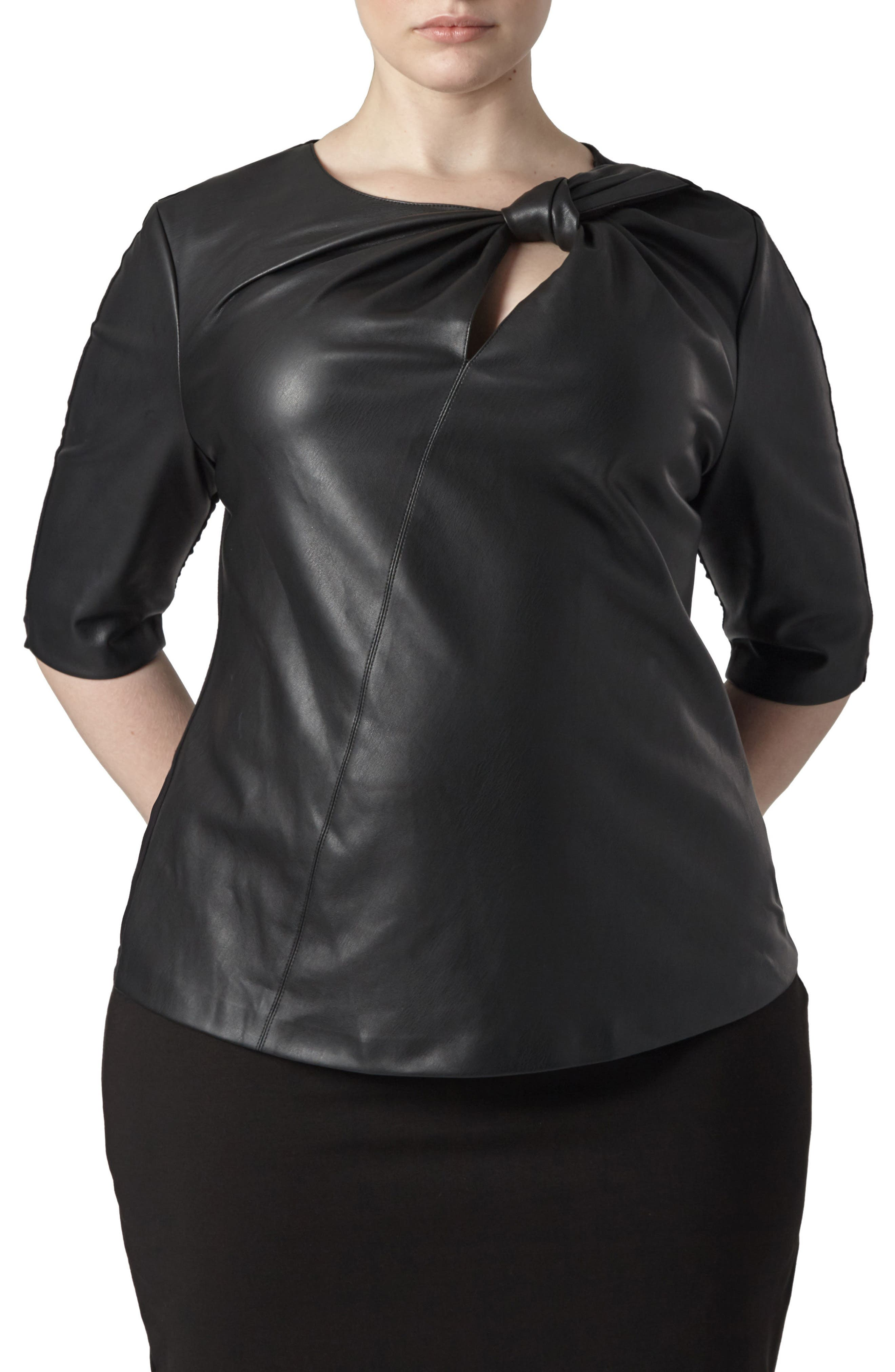 Savio Faux Leather Front Top,                             Main thumbnail 1, color,                             BLACK
