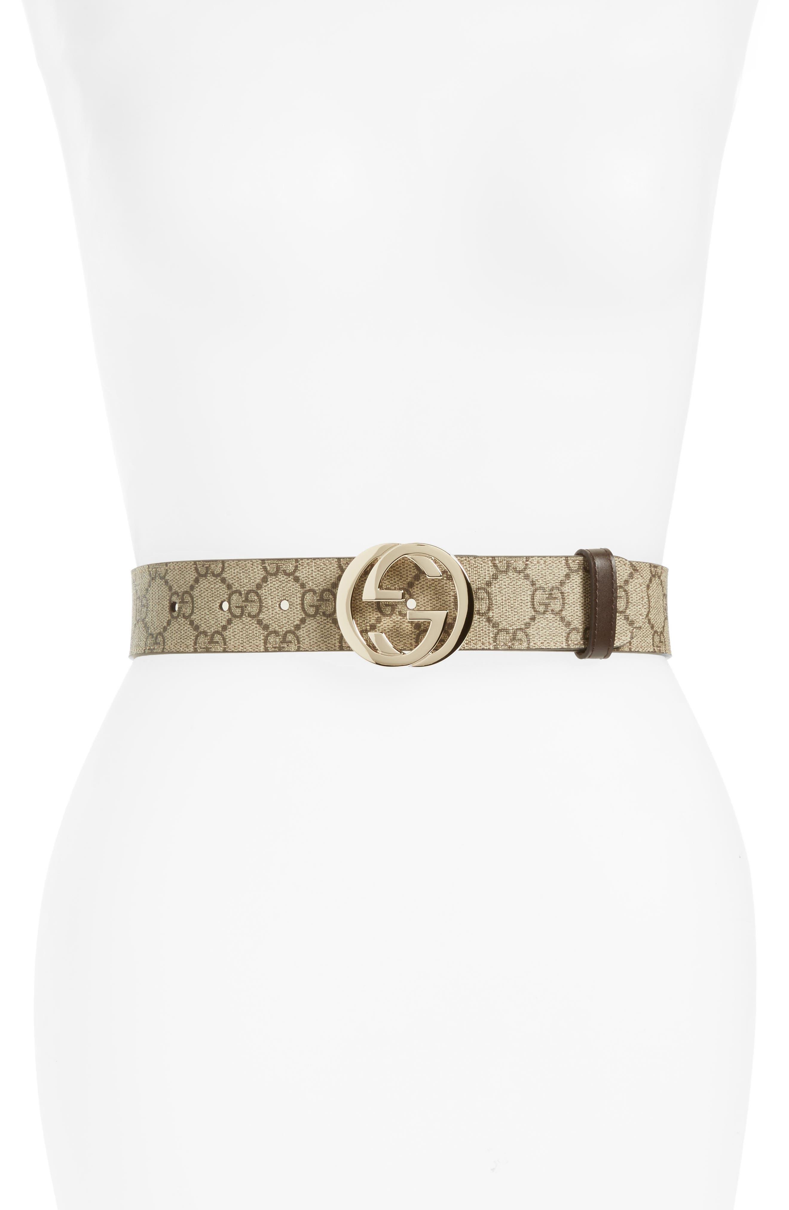 Gucci Logo Buckle Belt, Beige Ebony/ Cocoa