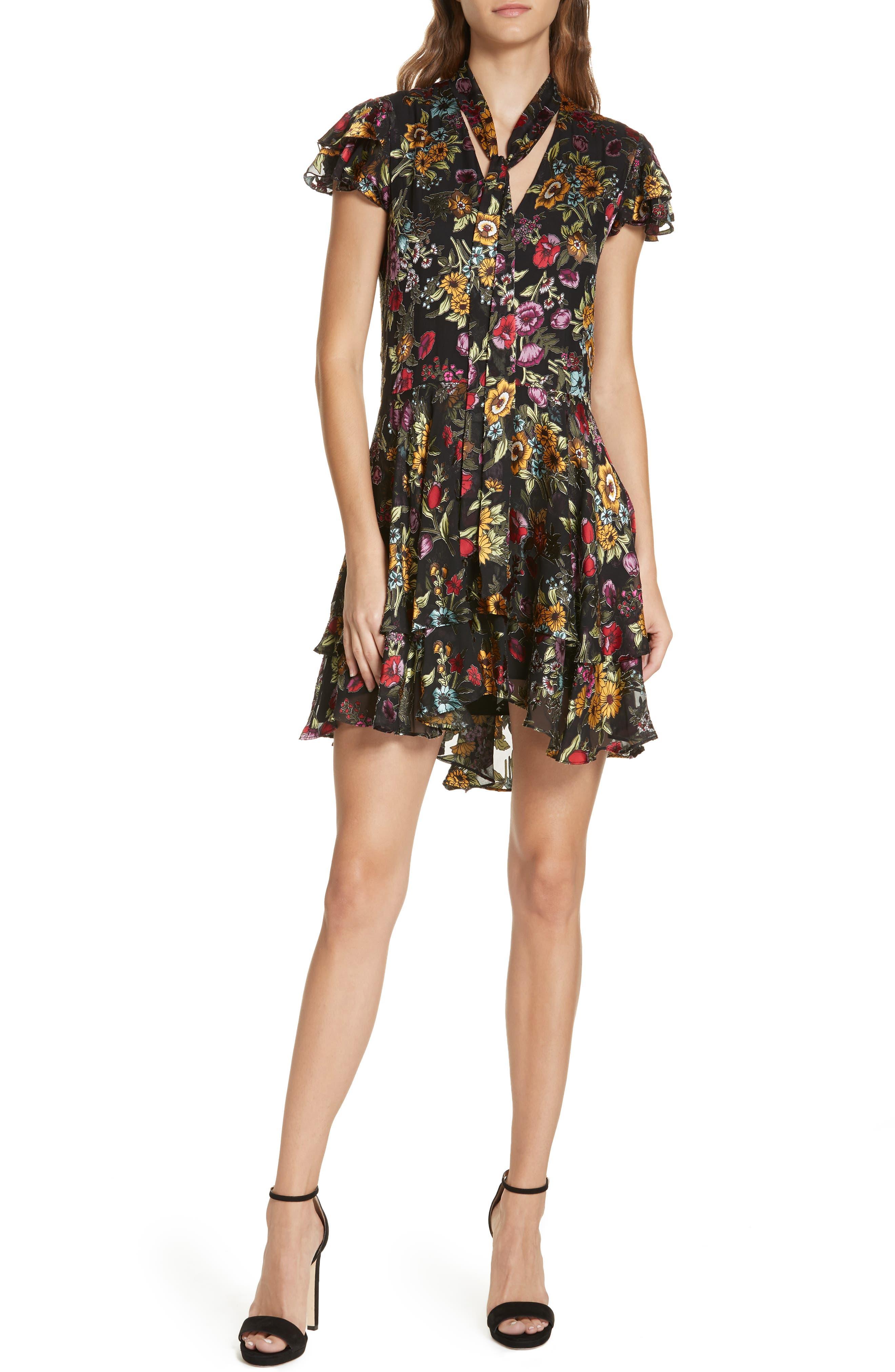 Alice + Olivia Moore Floral Tie Neck Minidress, Black
