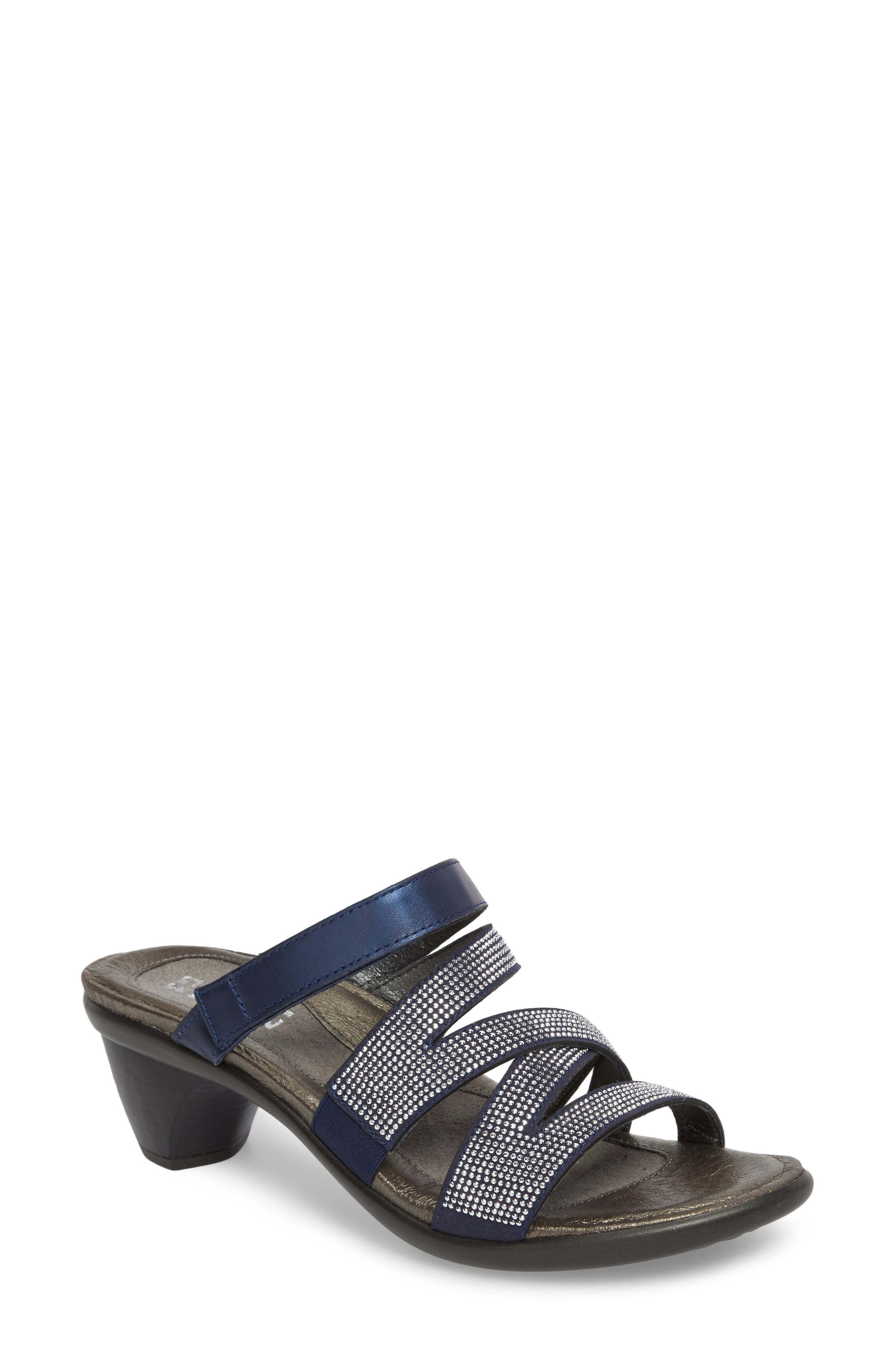 Formal Sandal,                             Main thumbnail 1, color,                             DARK BLUE LEATHER