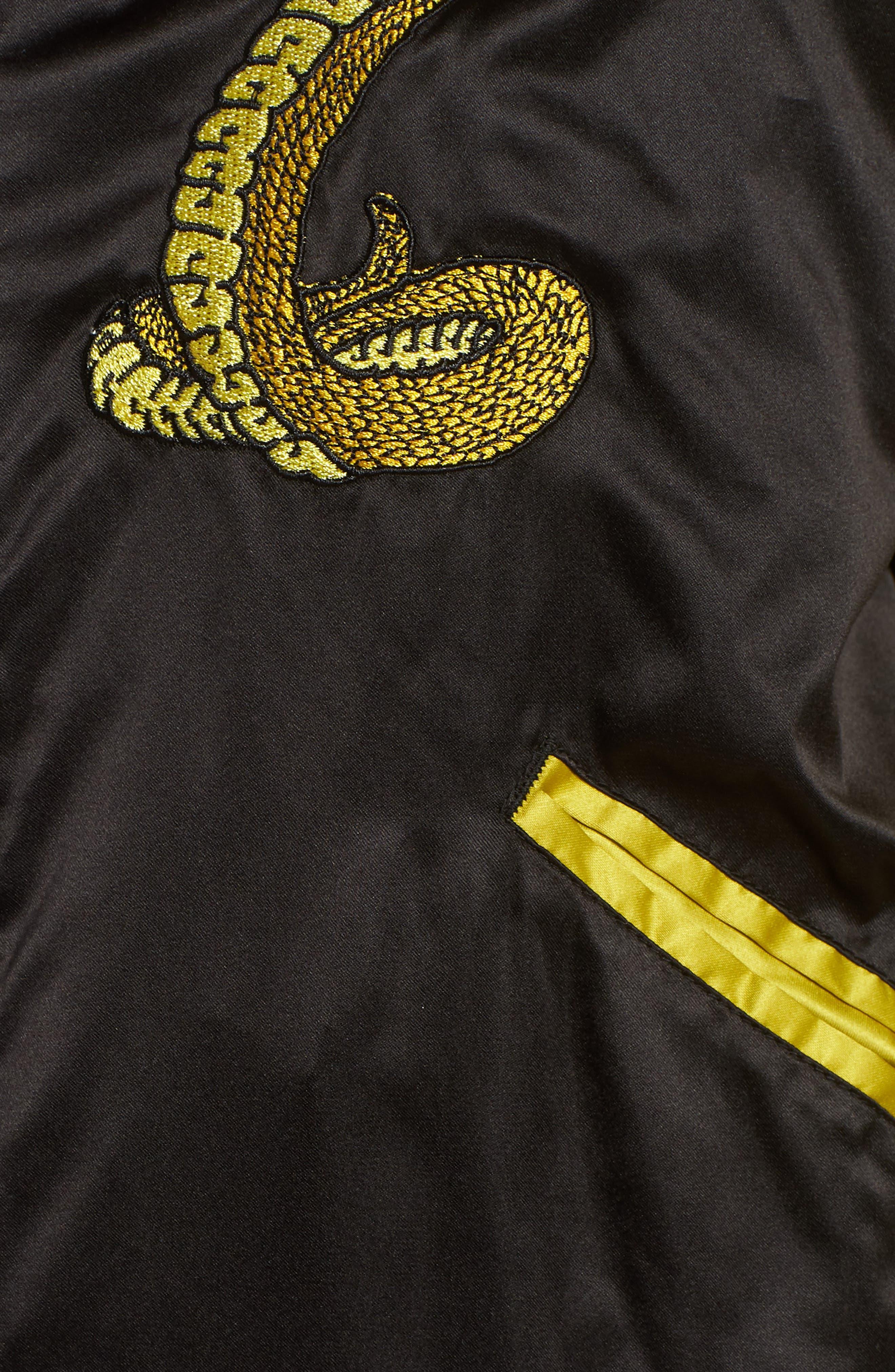 Snake Satin Bomber Jacket,                             Alternate thumbnail 7, color,                             001