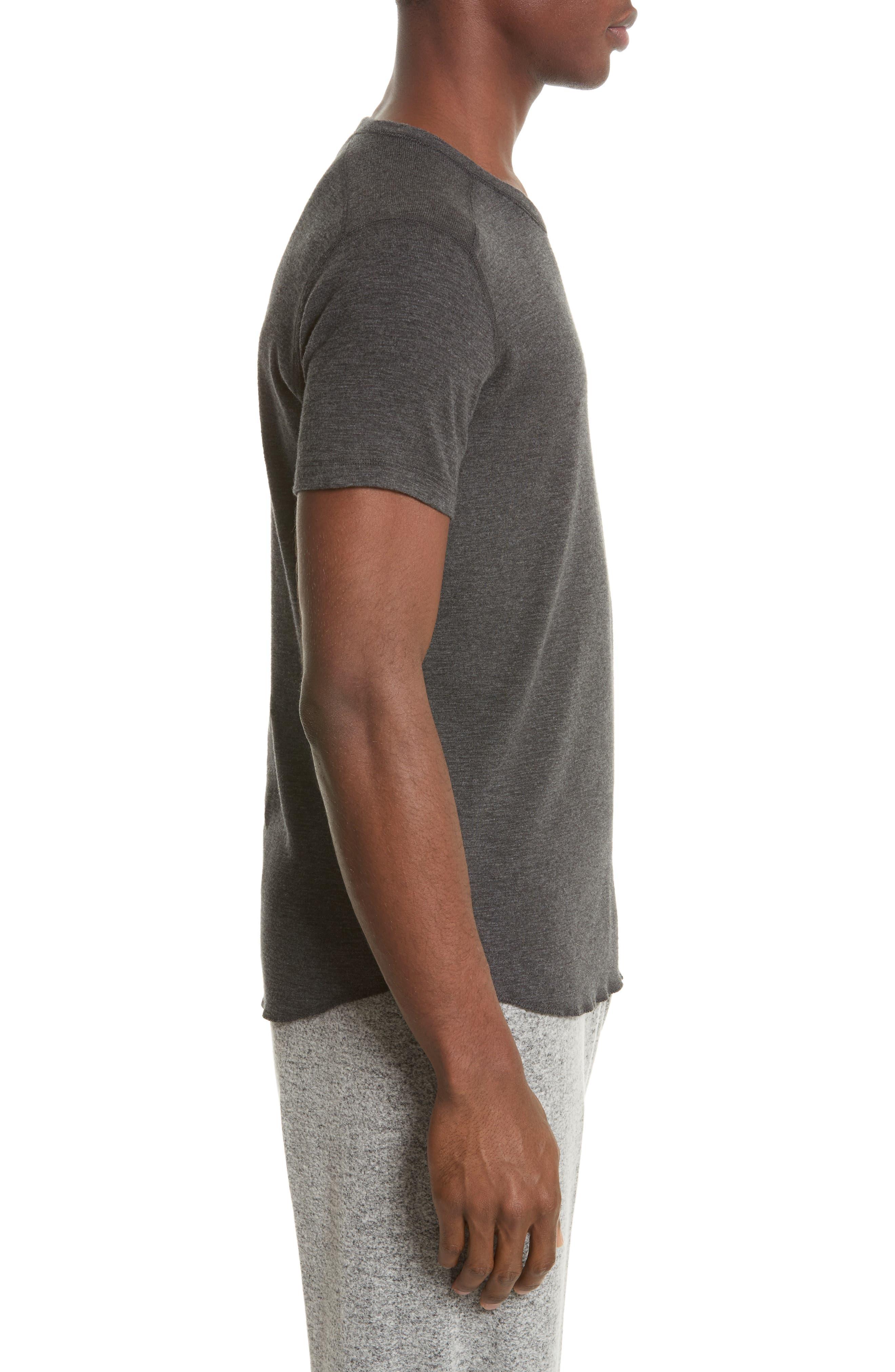 Ribbed Slub Cotton T-Shirt,                             Alternate thumbnail 3, color,                             HEATHER CHARCOAL