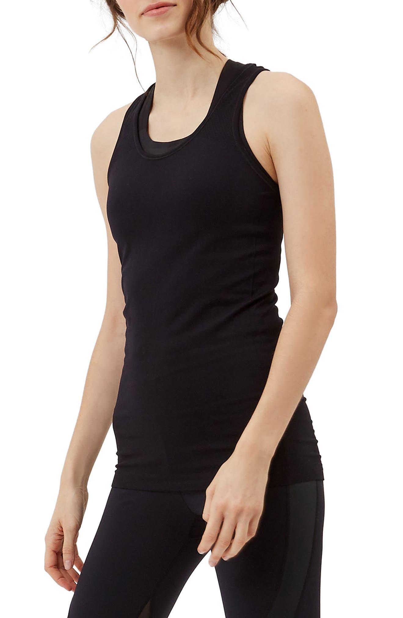 Athlete Seamless Workout Tank,                             Alternate thumbnail 3, color,                             BLACK