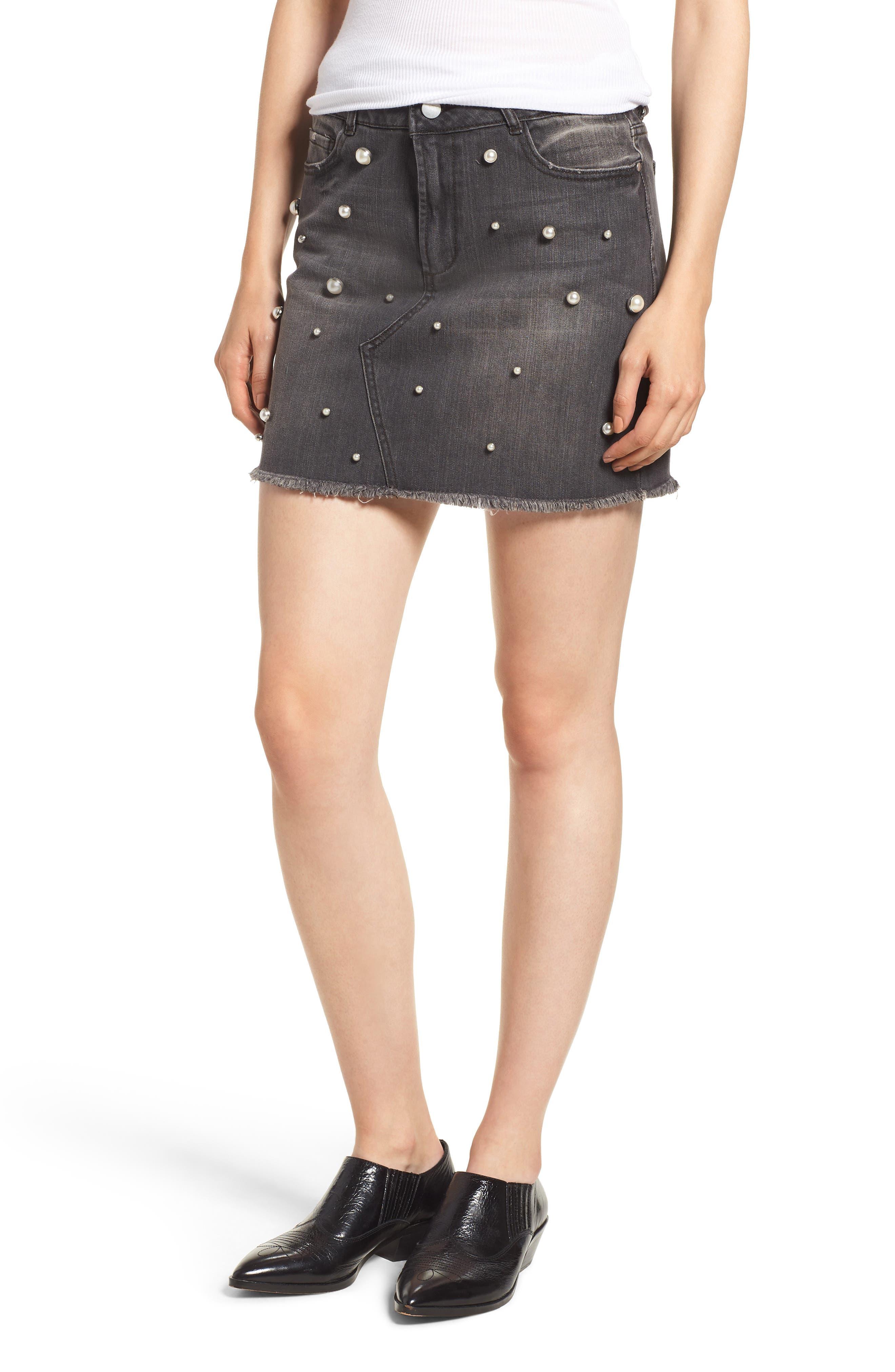Tinsel Imitation Pearl Embellished Denim Skirt, Black